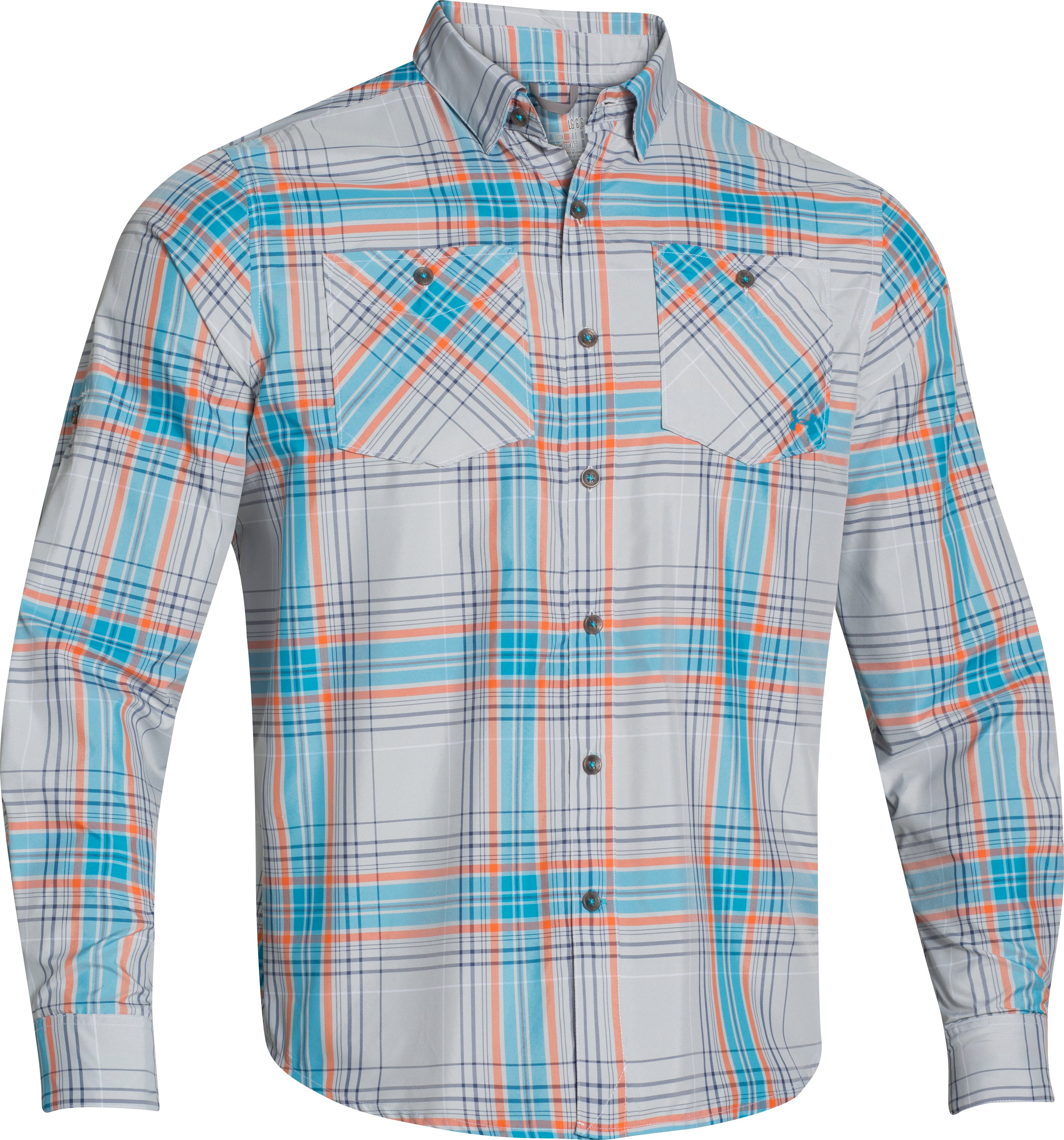 Men's UA Chesapeake Patterned Long Sleeve Shirt, White