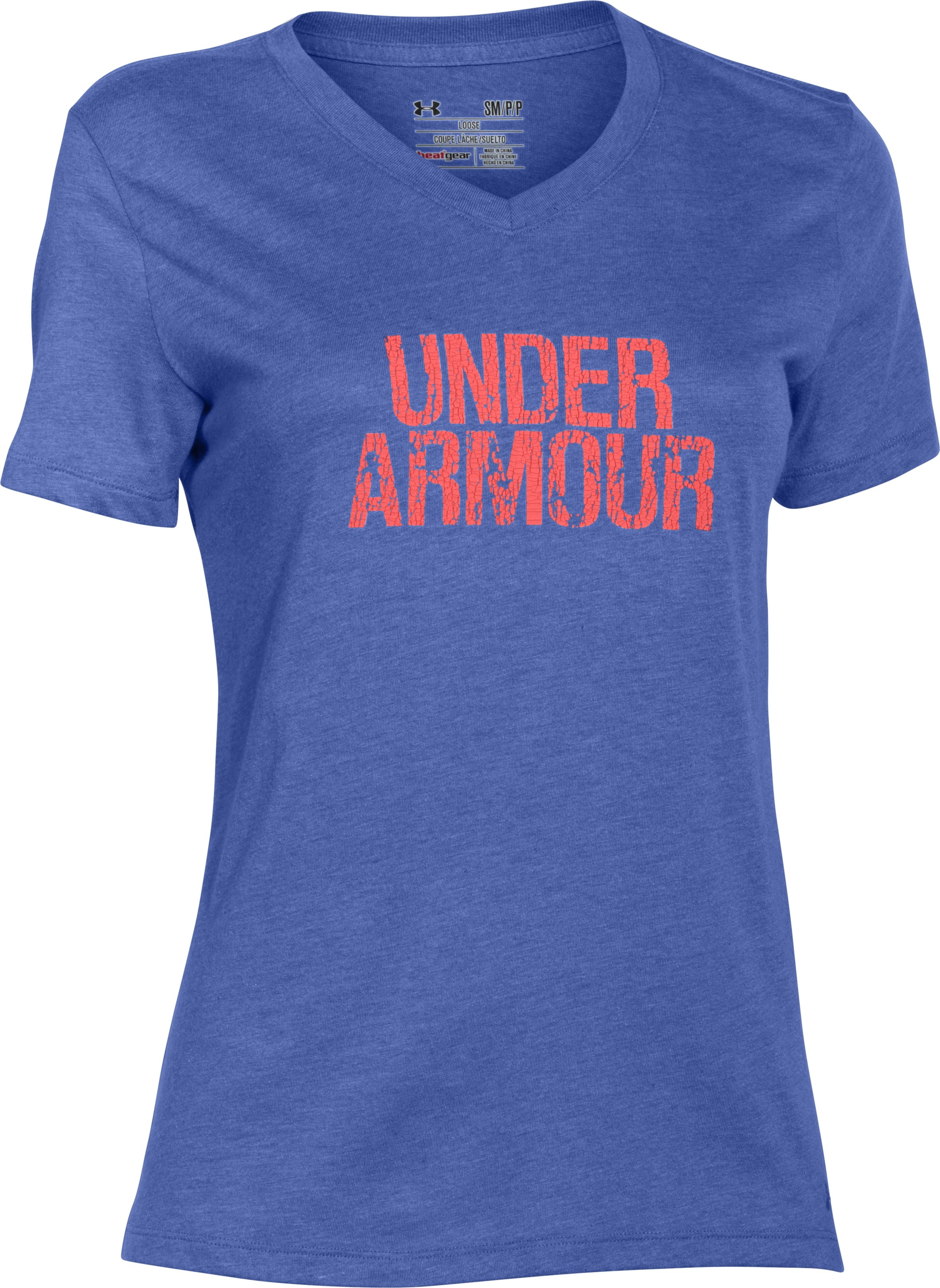Women's UA Charged Cotton® Tri-Blend Wordmark V-Neck, Mirror