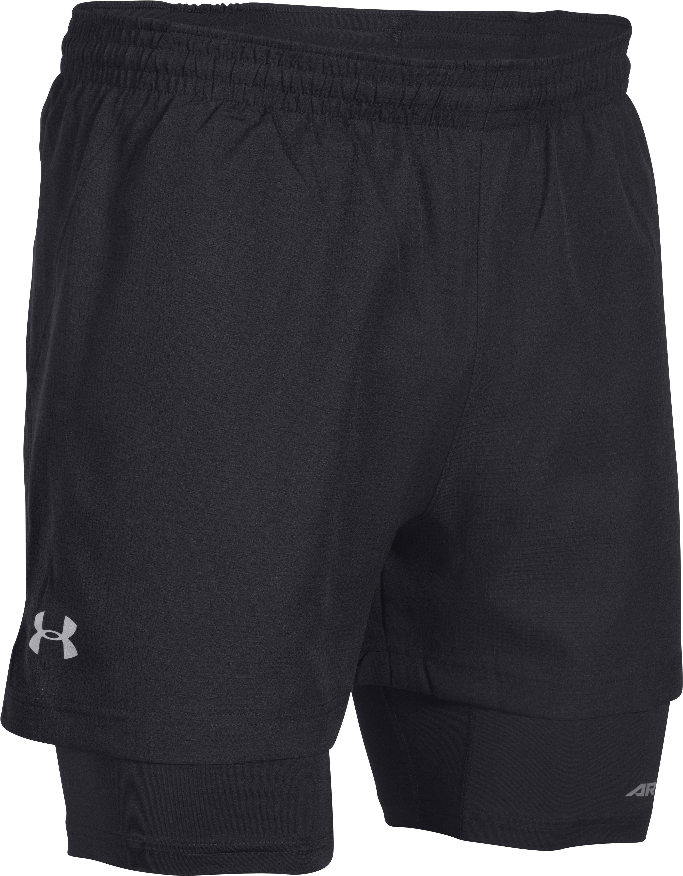 Men's UA Launch Racer 2-in-1 Shorts, Black , undefined