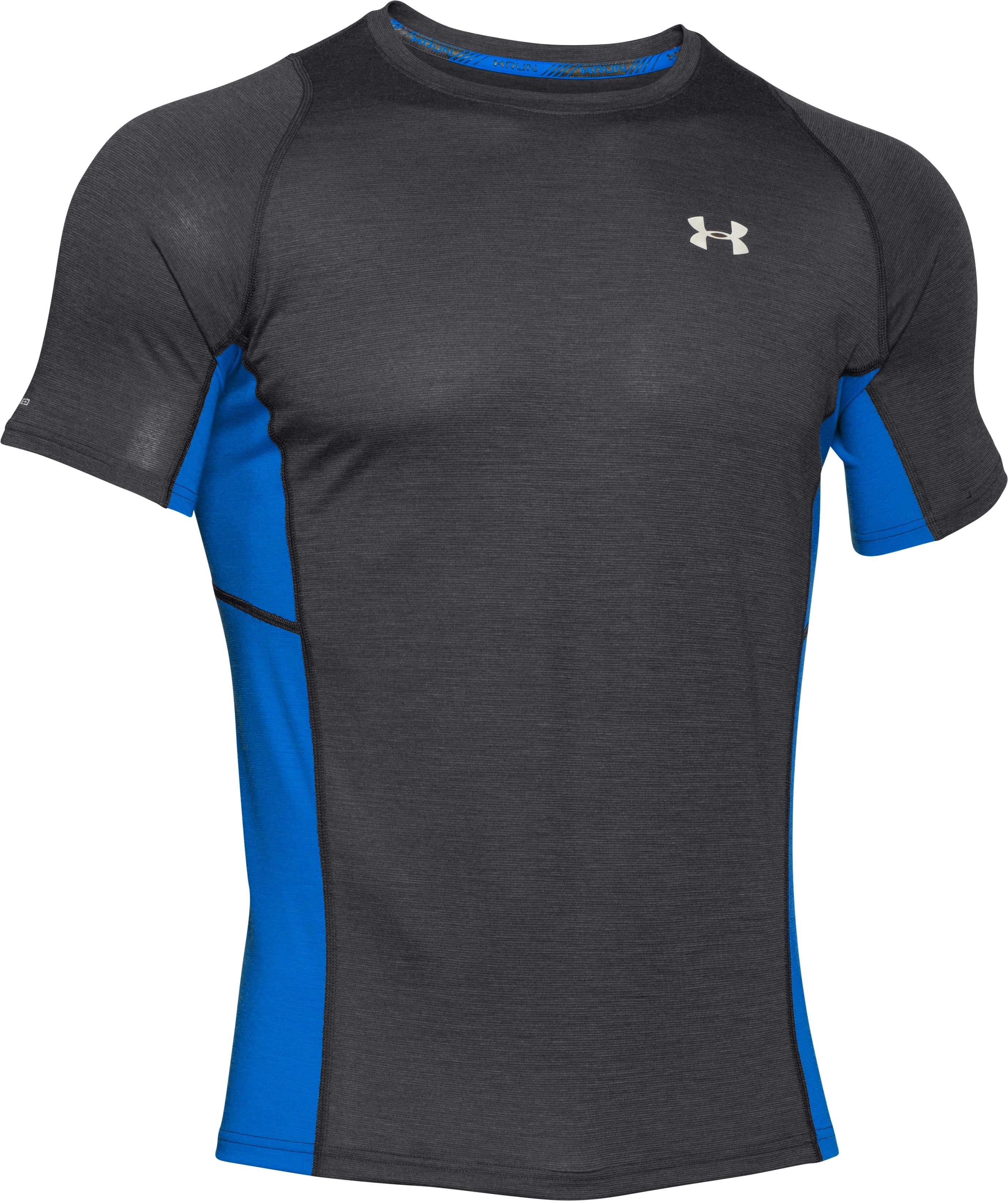 Men's UA Charged Wool Run Short Sleeve, Black ,