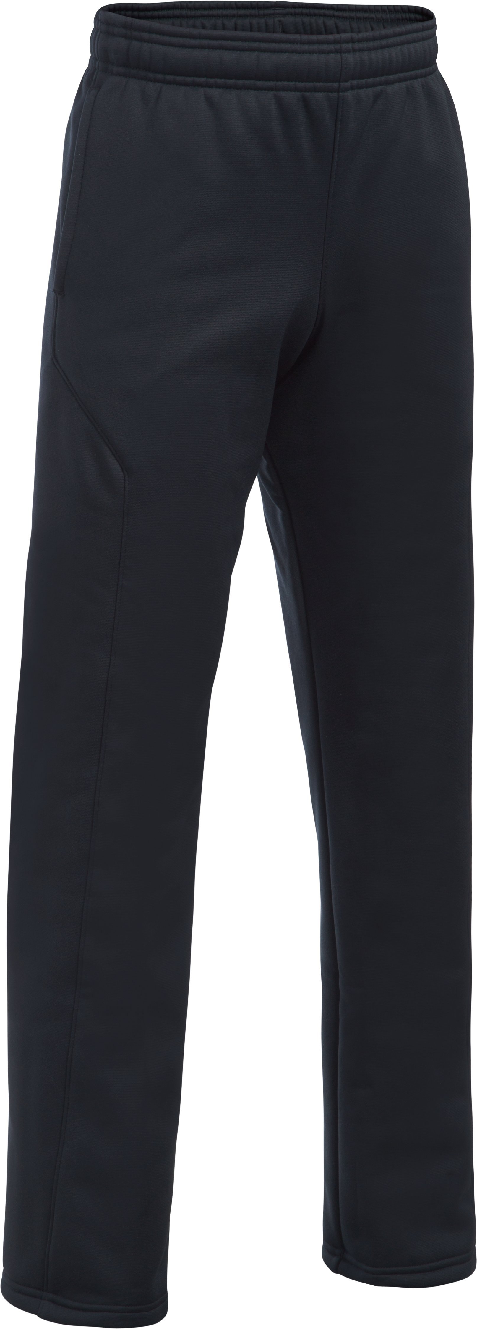Boys' UA Storm Armour Fleece® Big Logo Pants, Black , undefined