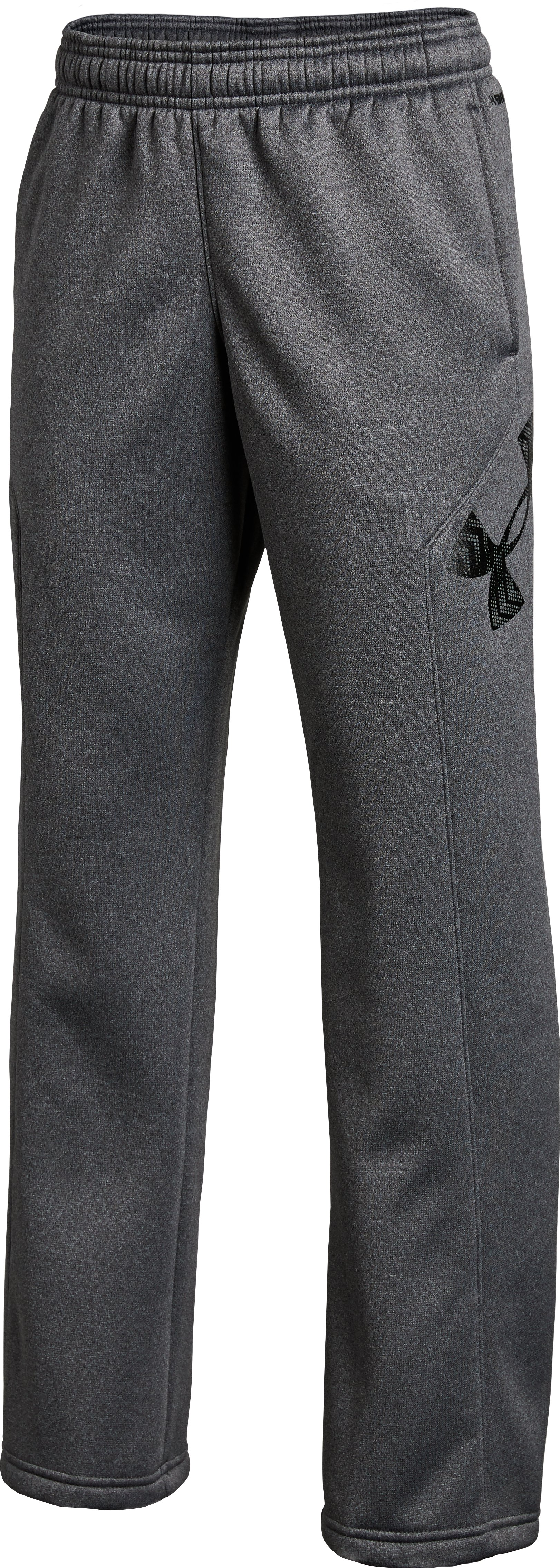Boys' UA Storm Armour Fleece® Big Logo Pants, Carbon Heather, undefined