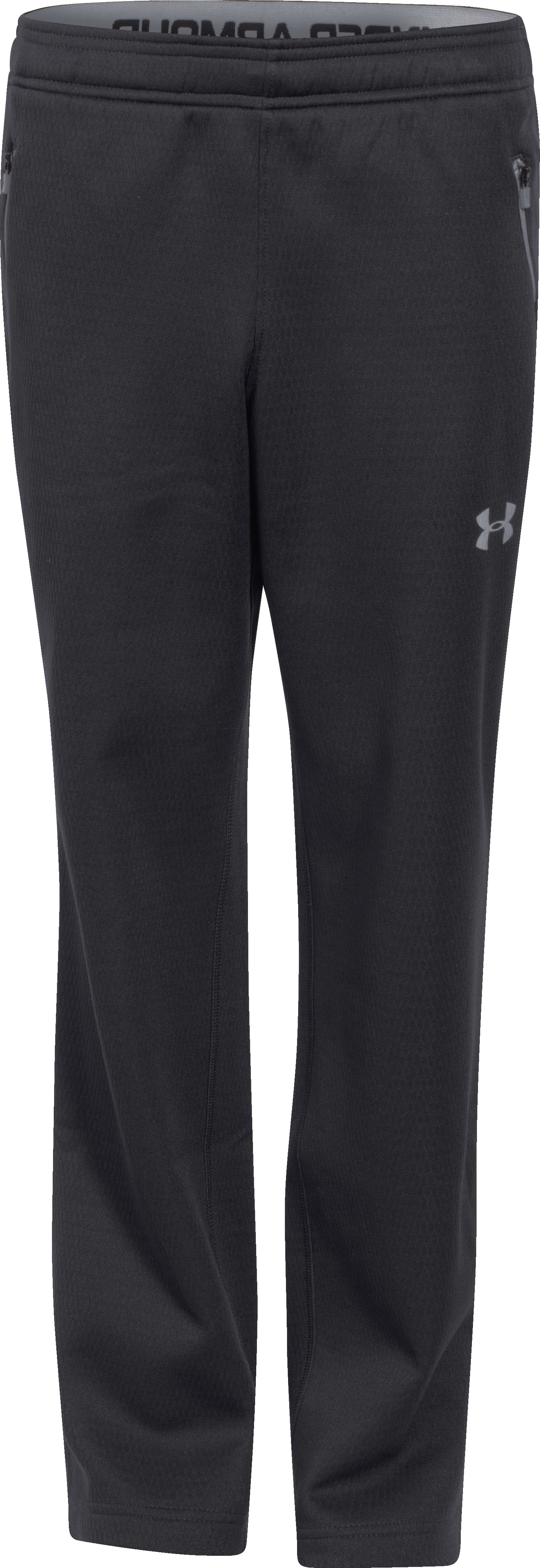 Boys' UA ColdGear® Infrared Fleece Pants, Black , zoomed image