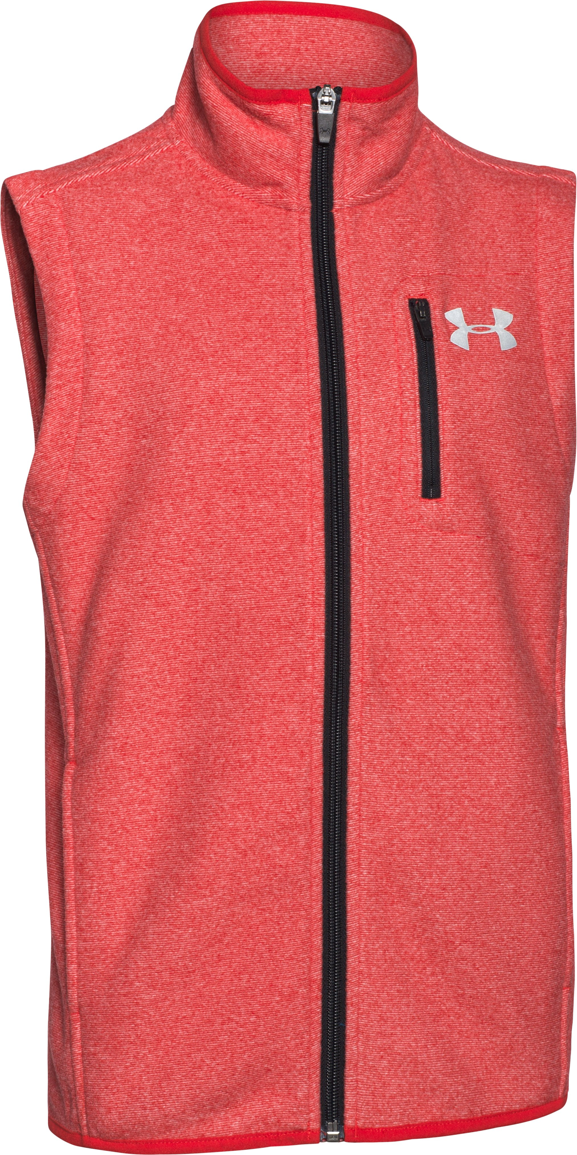 Boys' UA ColdGear® Infrared Performance Fleece Vest, RISK RED