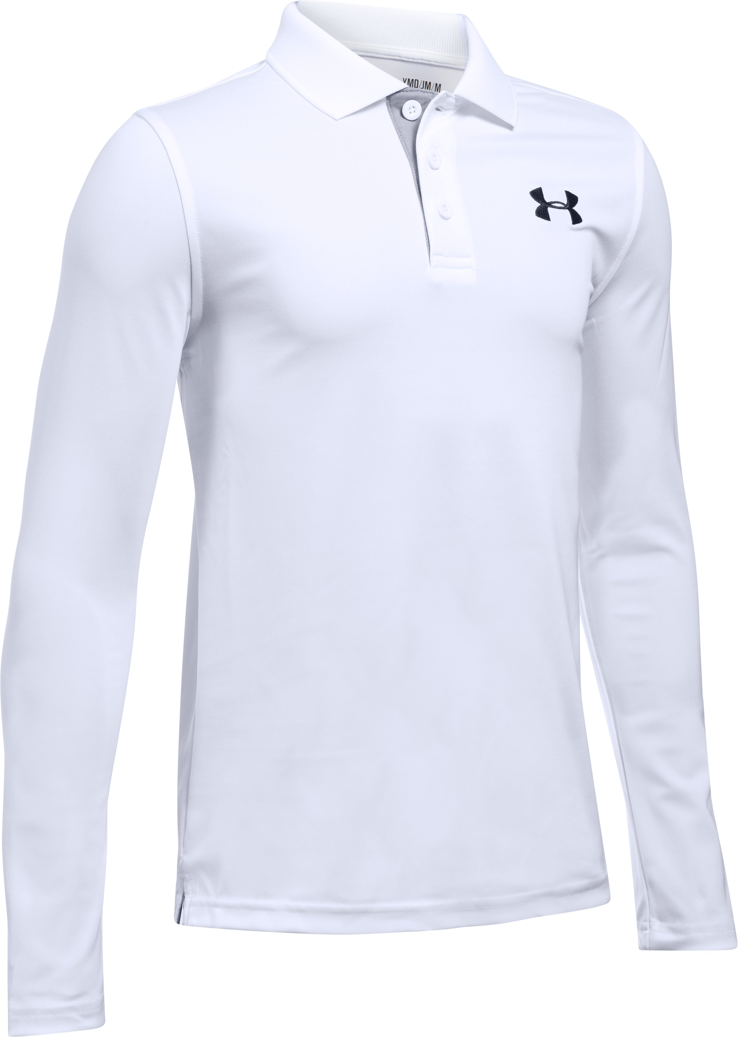 Boys' UA Match Play Long Sleeve Polo, White, undefined