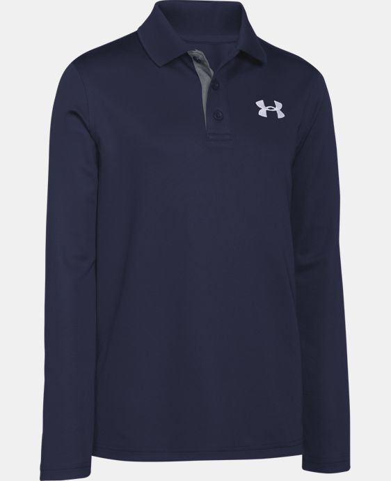 New Arrival  Boys' UA Match Play Long Sleeve Polo LIMITED TIME: FREE SHIPPING 2 Colors $44.99