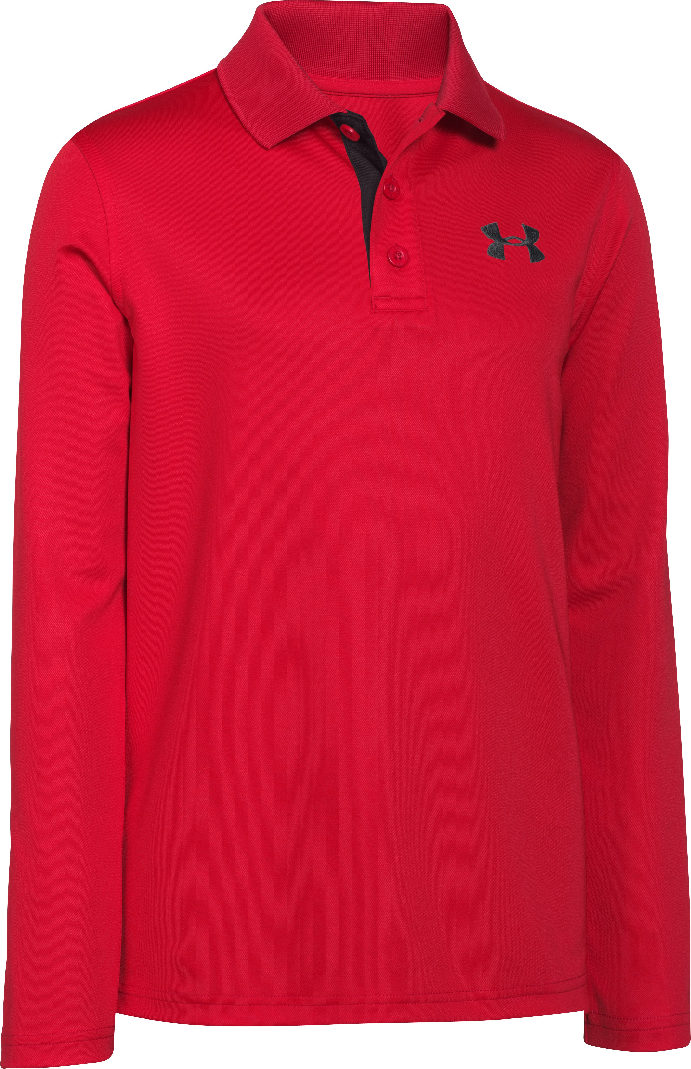 Boys' UA Match Play Long Sleeve Polo, RISK RED,