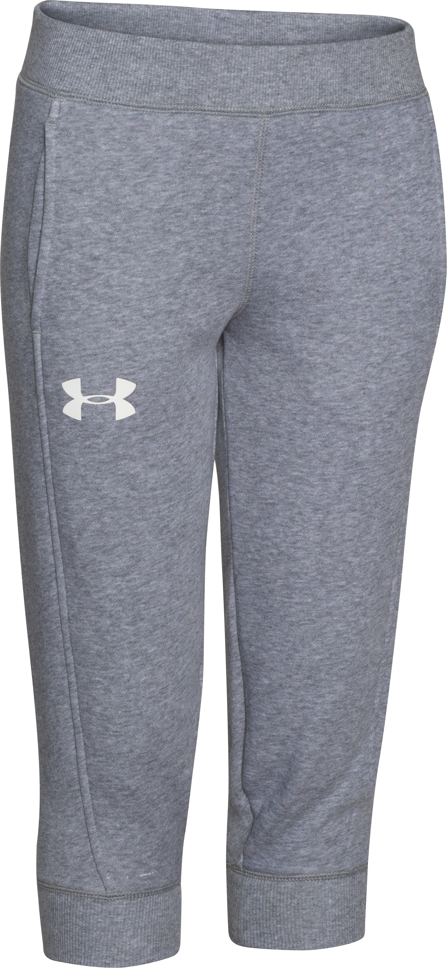 Girls' UA Rival Fleece Capri, True Gray Heather