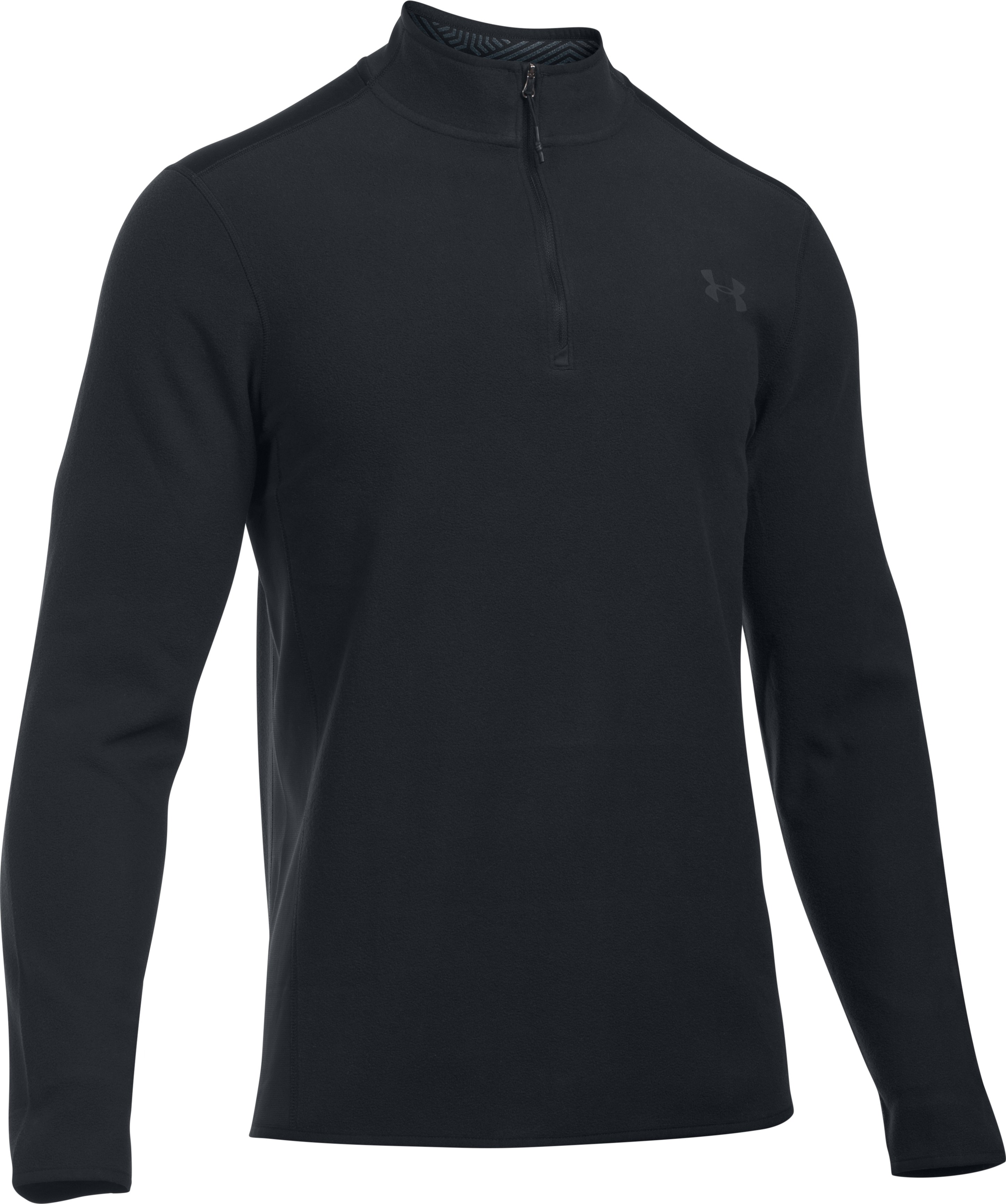 Men's UA ColdGear Infrared® Fleece ¼ Zip, Black ,