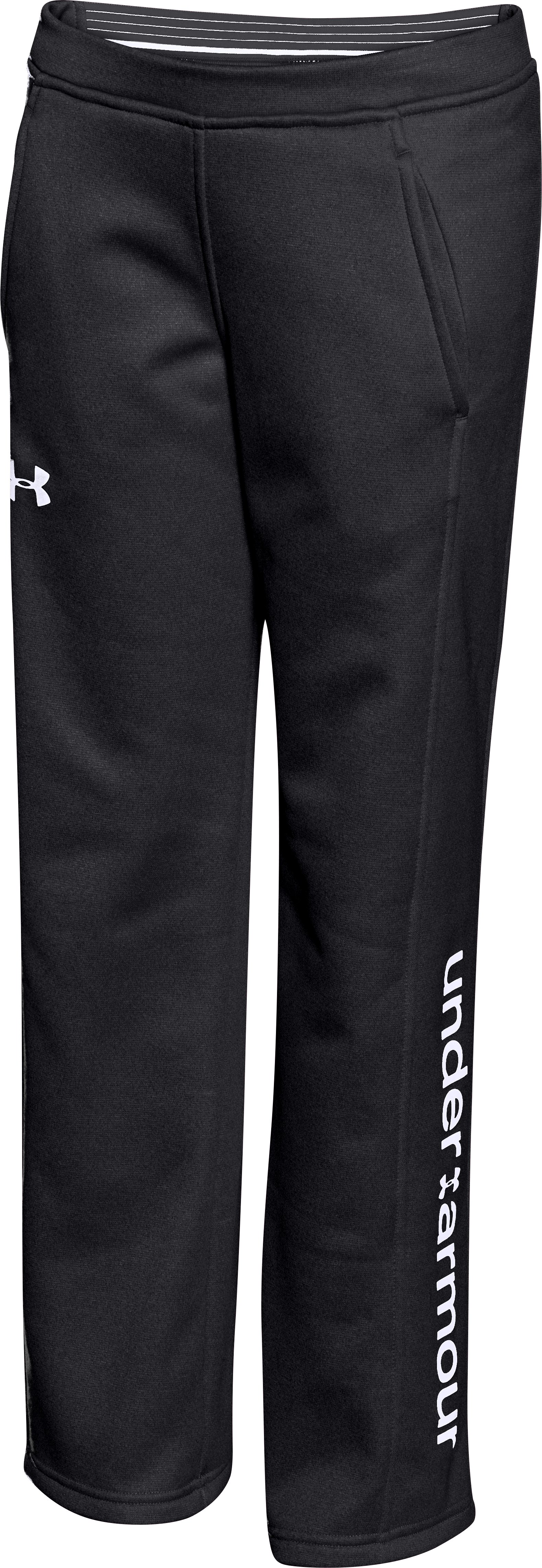Girls' UA Armour® Fleece Pants, Black , zoomed image