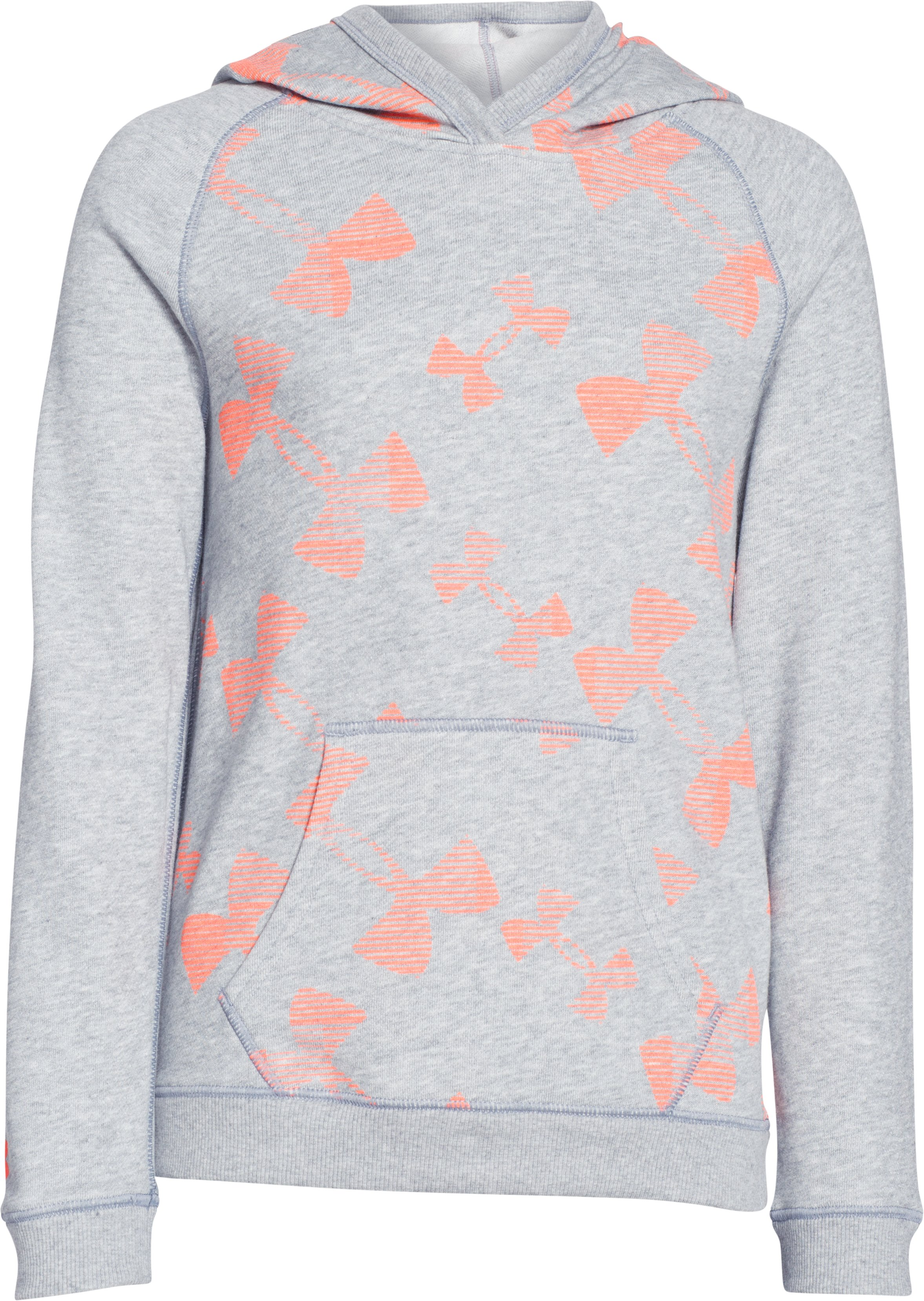 Girls' UA Kaleidalogo Hoodie, True Gray Heather, zoomed image