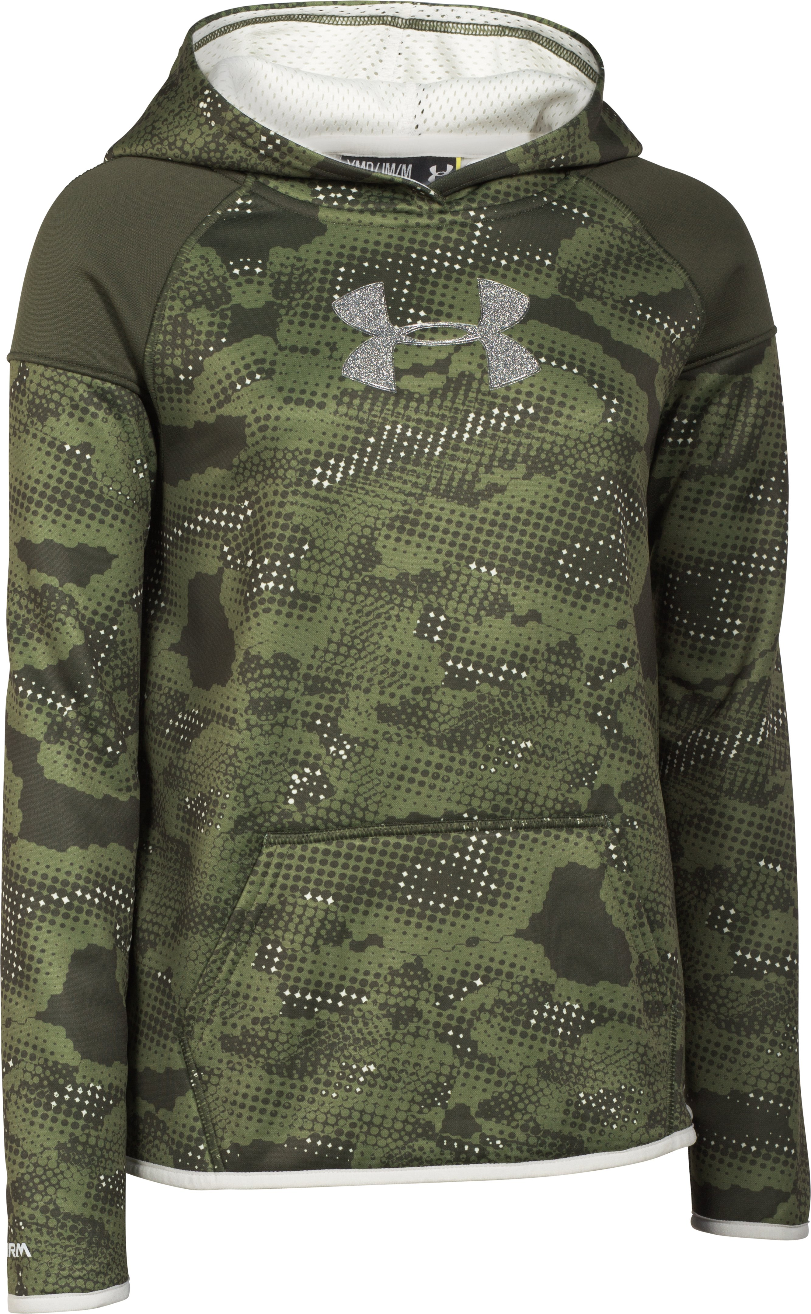 Girls' UA Armour® Fleece Novelty Big Logo Hoodie, DOWNTOWN GREEN