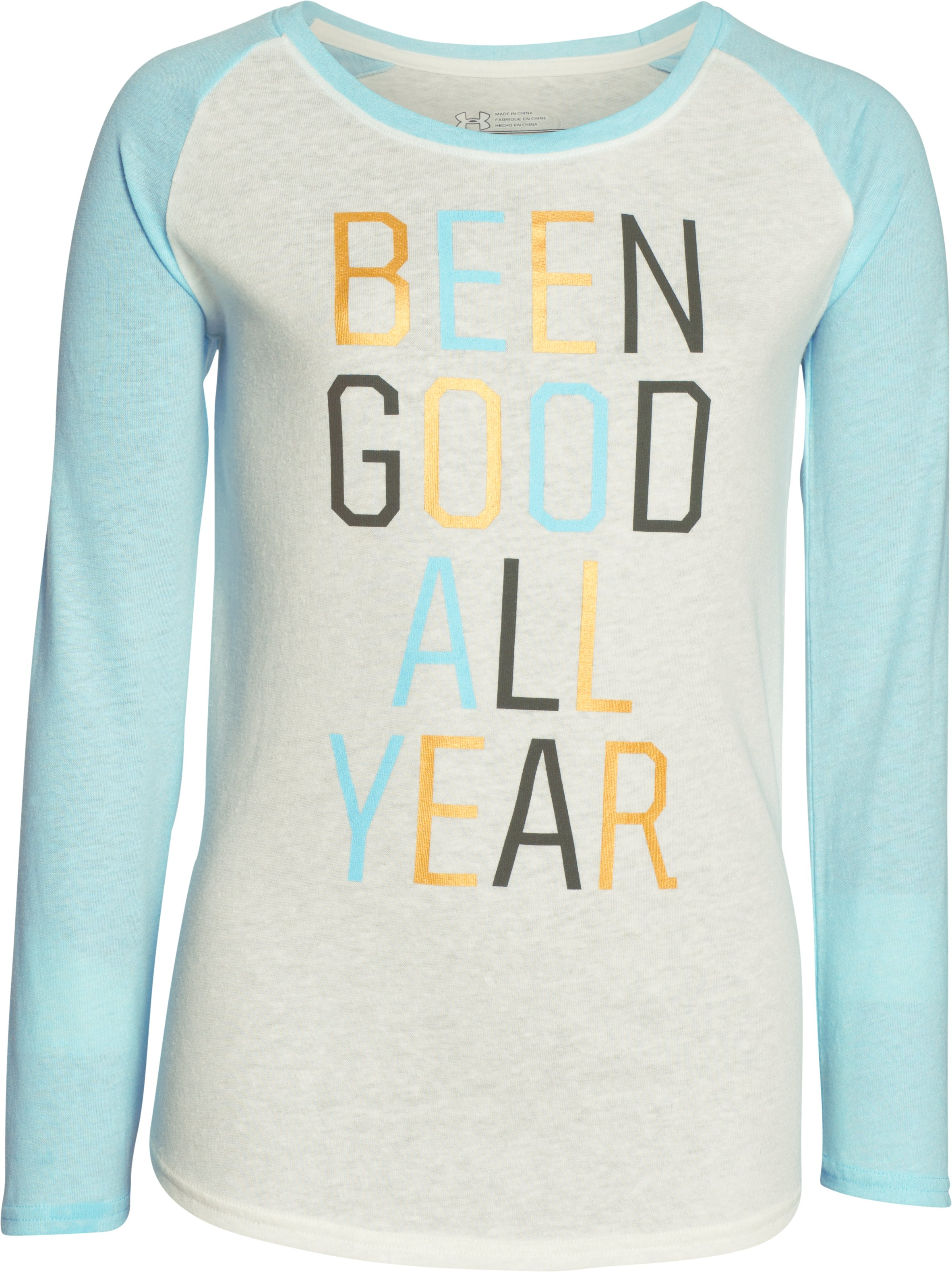 Girls' UA Been Good All Year Long Sleeve, TUFT WHITE