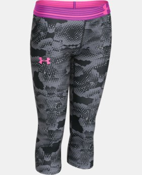Best Seller Girls' UA HeatGear® Armour Printed Capri   $26.99