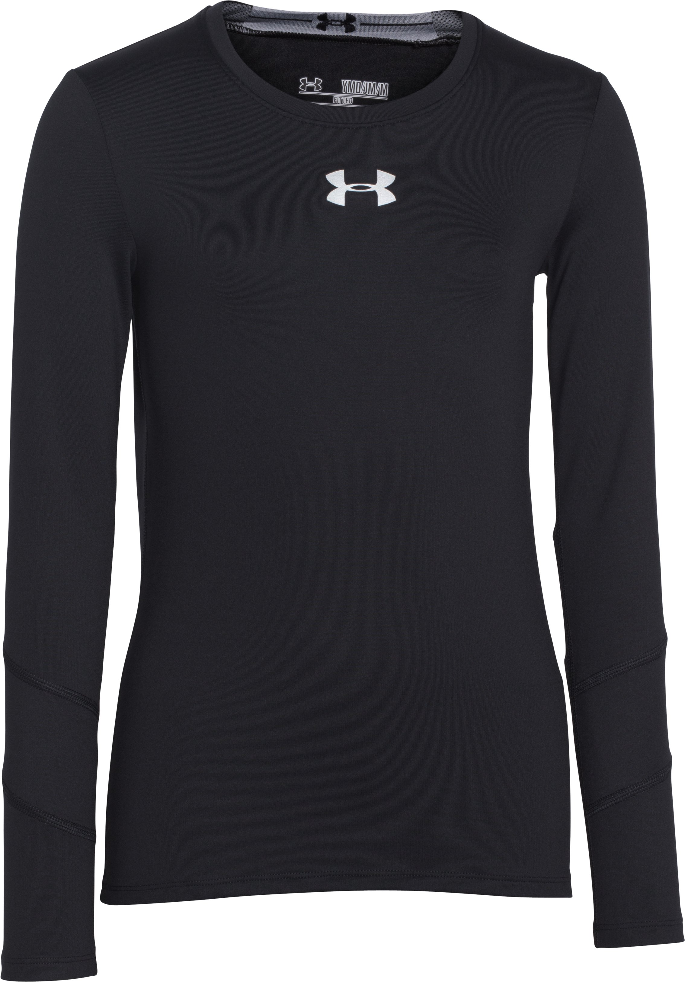 Girls' UA ColdGear® Long Sleeve, Black , zoomed image