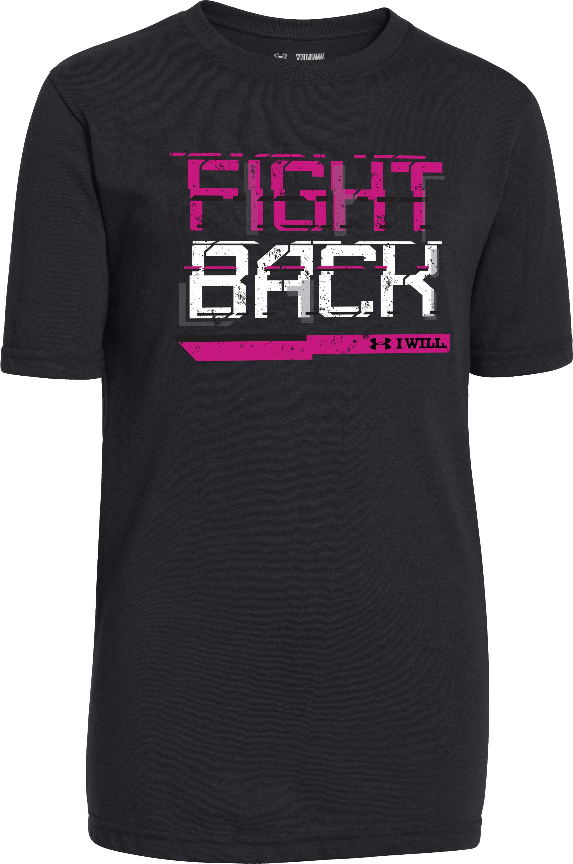 Boys' UA Power In Pink® Fight Back T-Shirt, Black , zoomed image