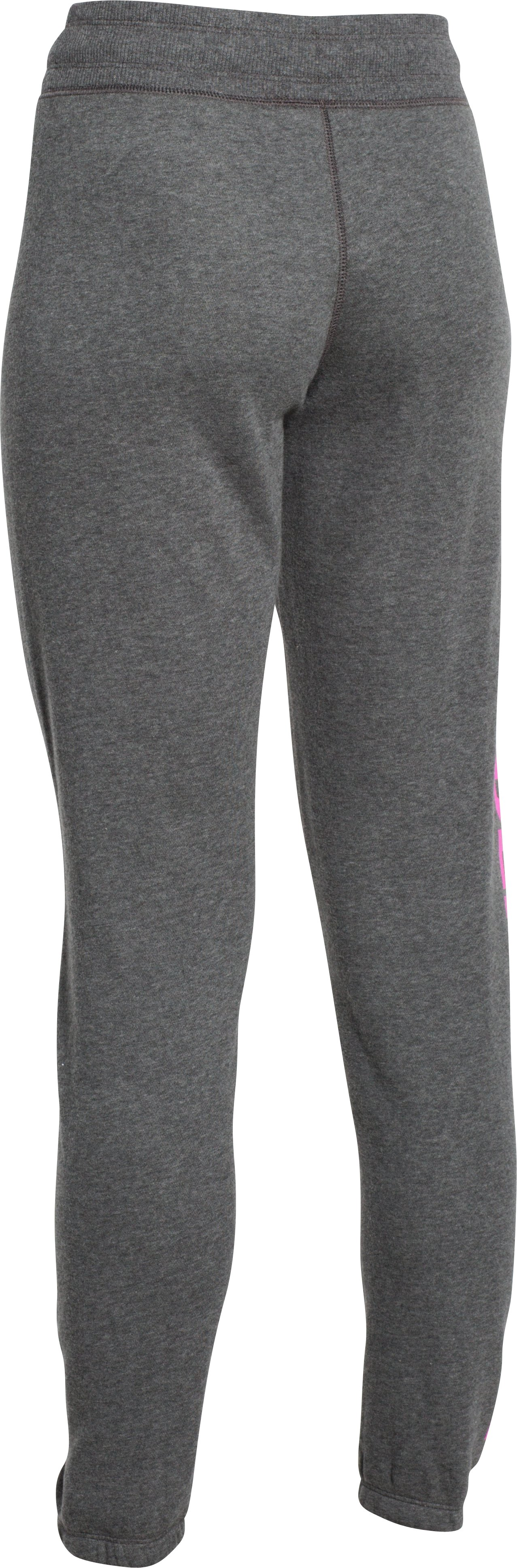 Women's UA Favorite Fleece Word Mark Boyfriend Pants, Carbon Heather