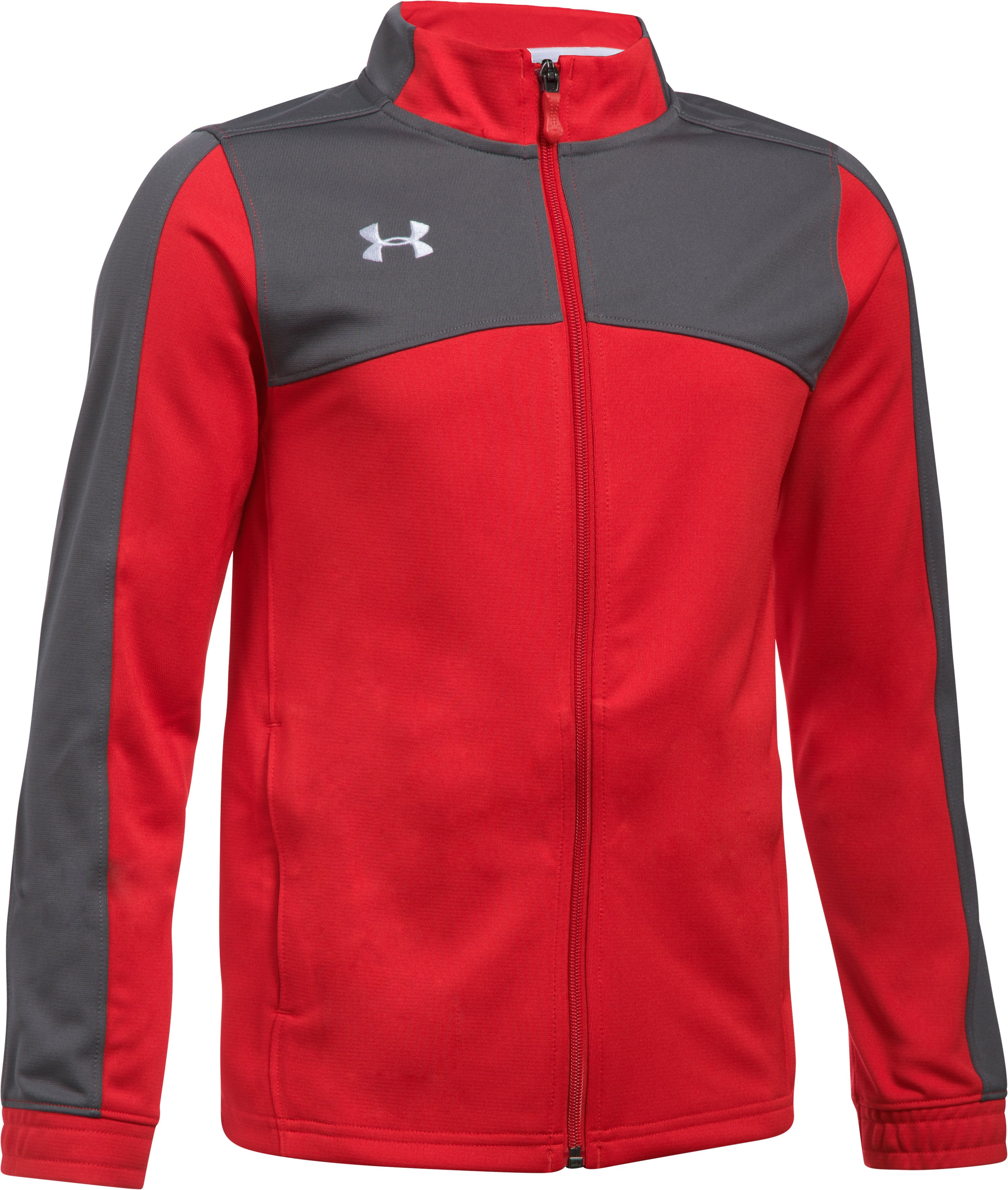red track suits Boys' UA Futbolista Soccer Track Jacket It is the perfect fit and very comfortable....My son loves the feel of this jacket....Great product, Excellent Quality!