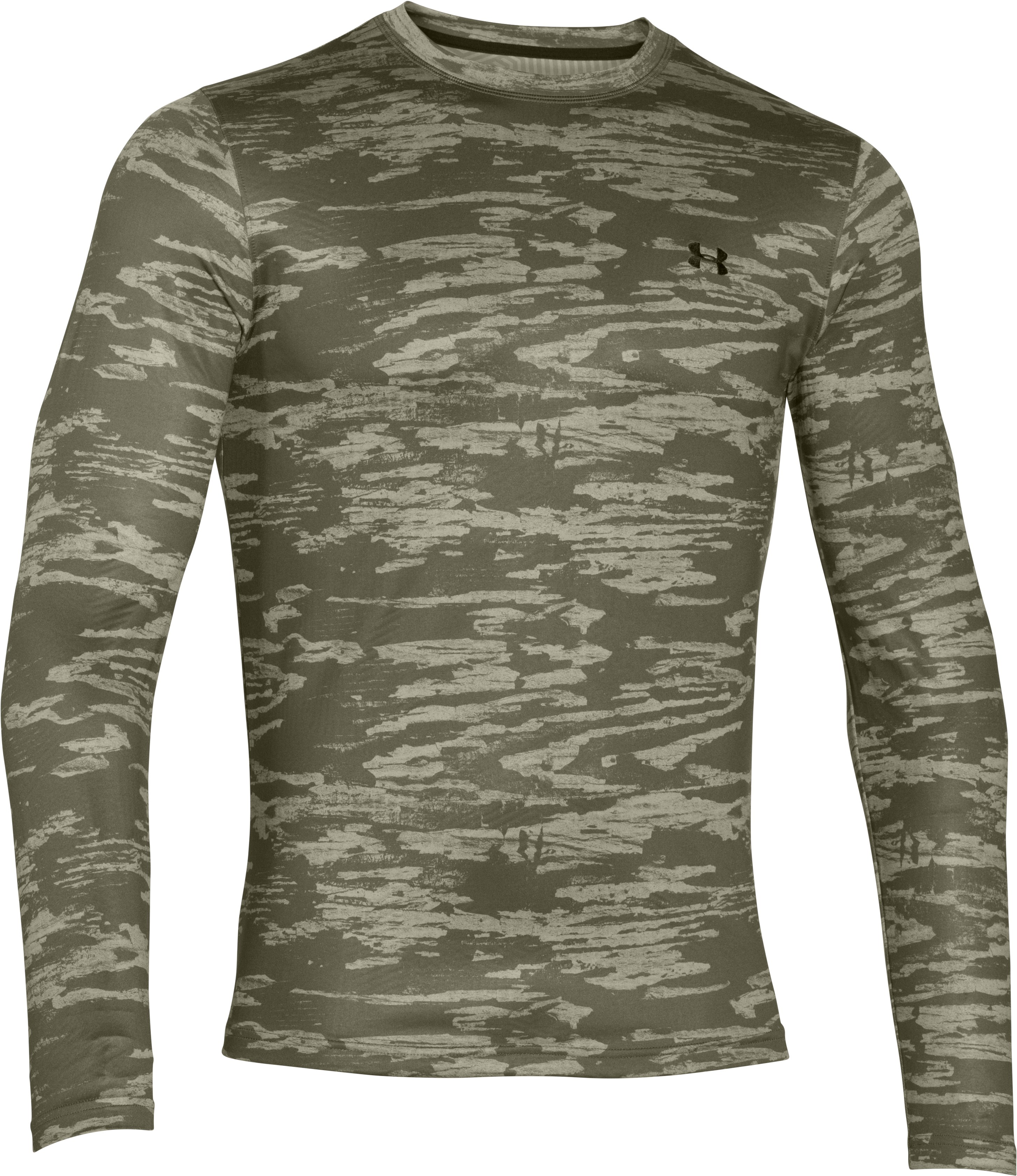 Men's UA ColdGear® Armour Printed Crew, GREENHEAD, undefined