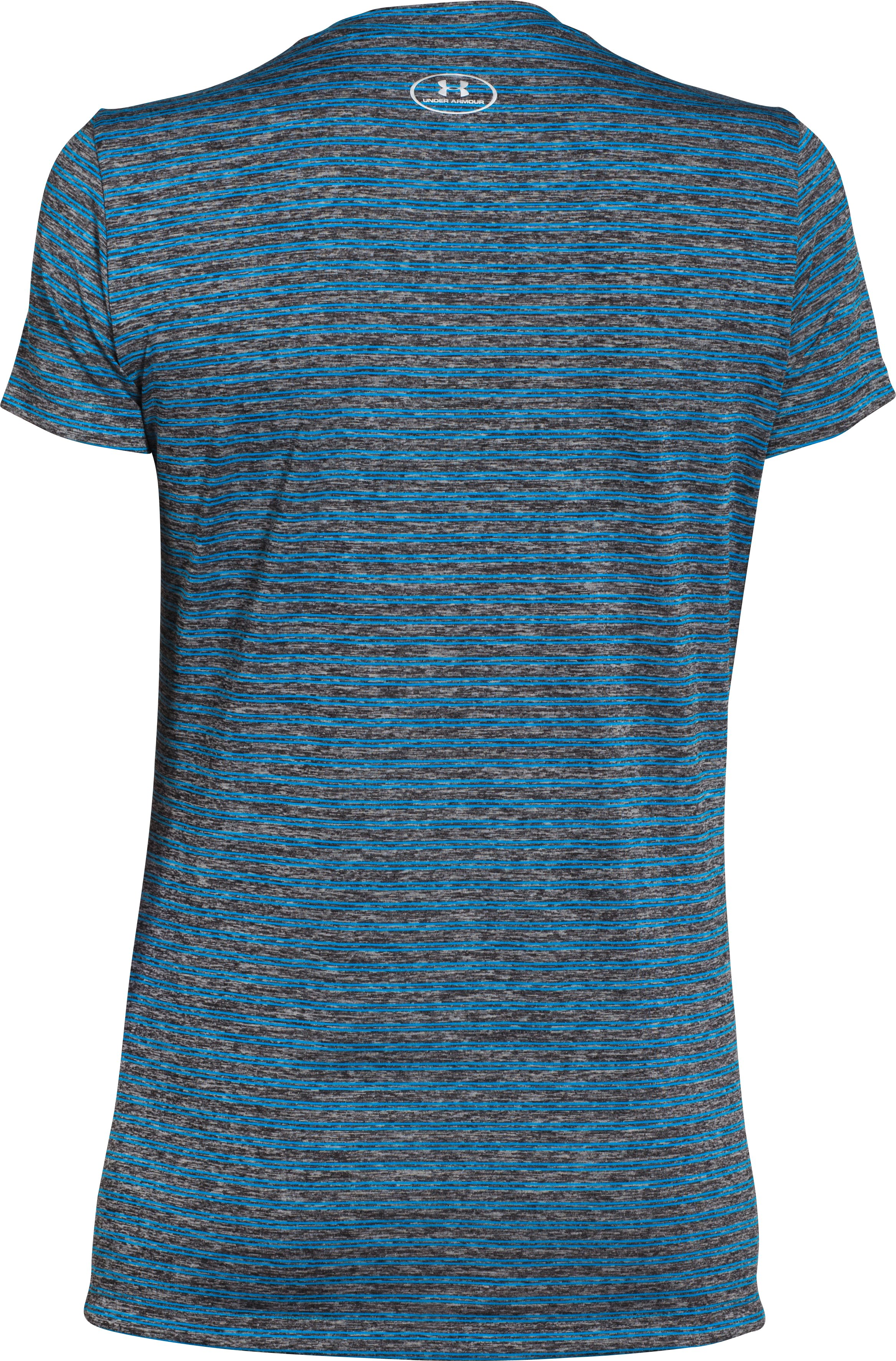 Women's UA Tech™ Heather Stripe V-Neck, Black ,