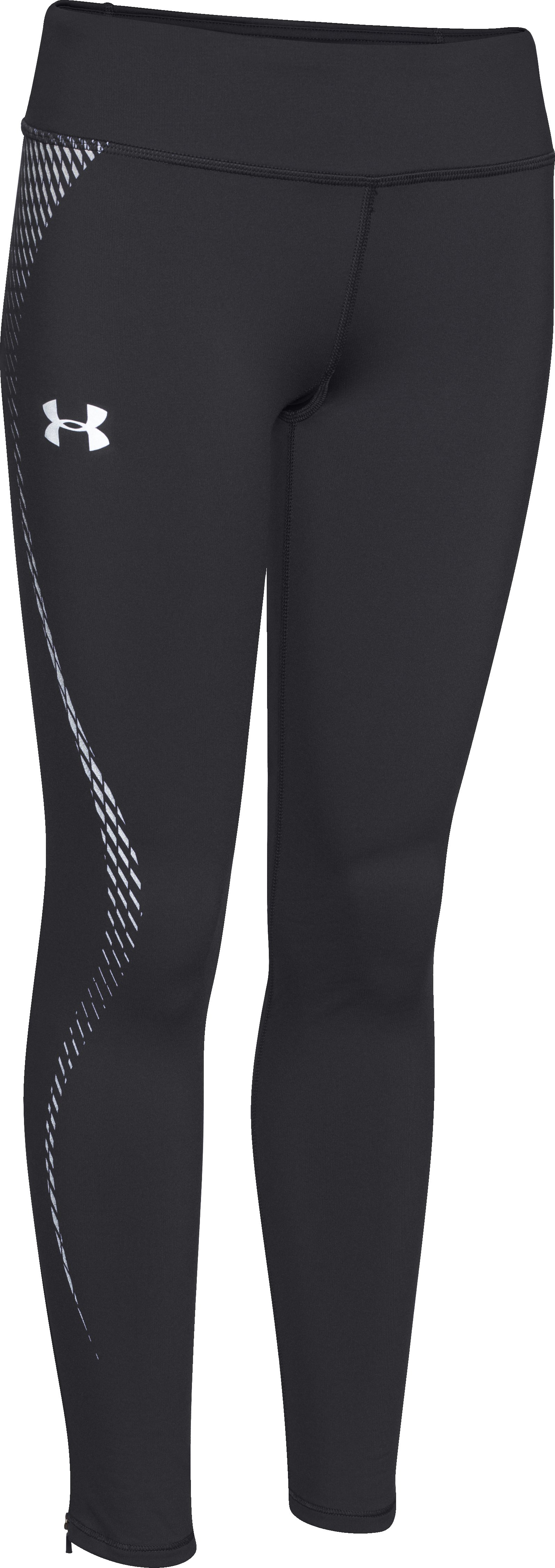 Girls' UA ColdGear® Reflective Leggings, Black ,