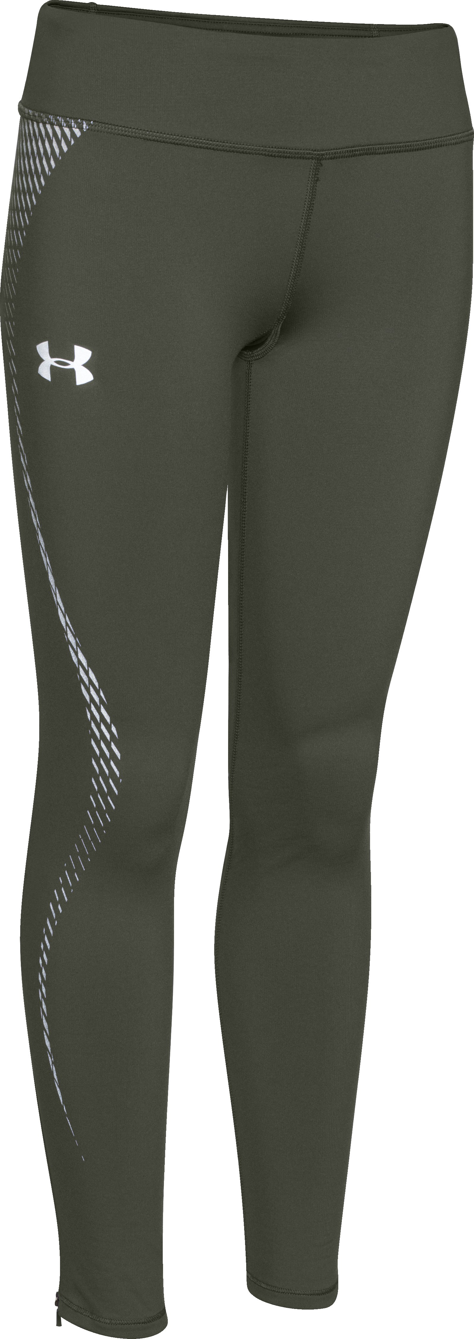 Girls' UA ColdGear® Reflective Legging, DOWNTOWN GREEN, zoomed image