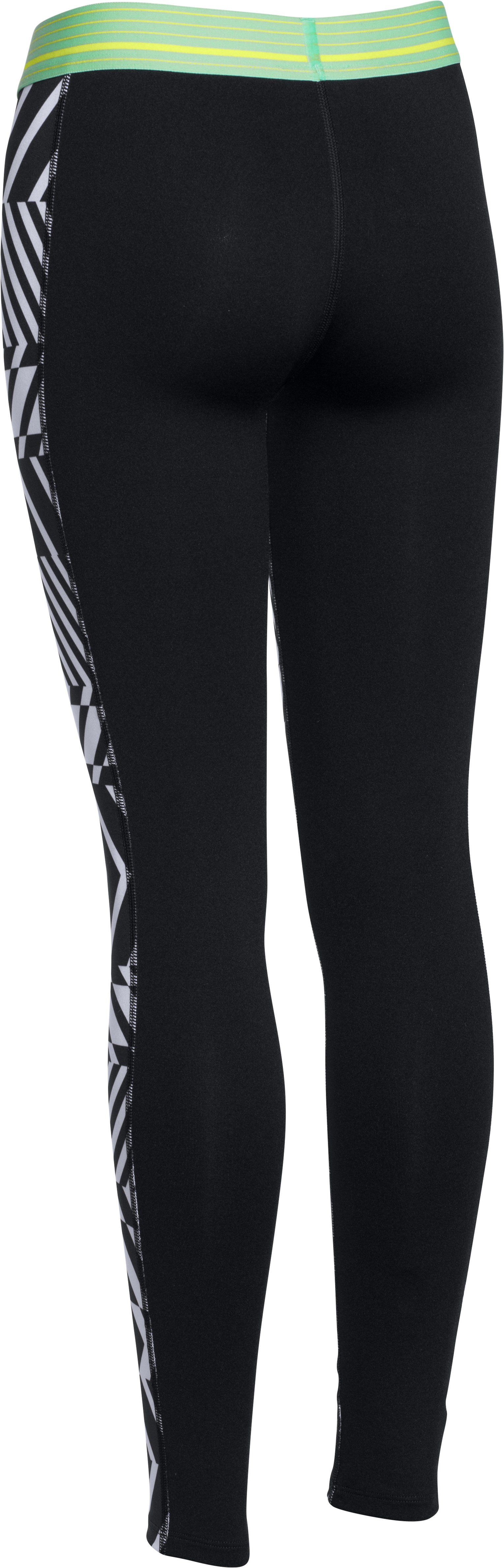 Girls' UA HeatGear® Armour Printed Legging, Black , undefined