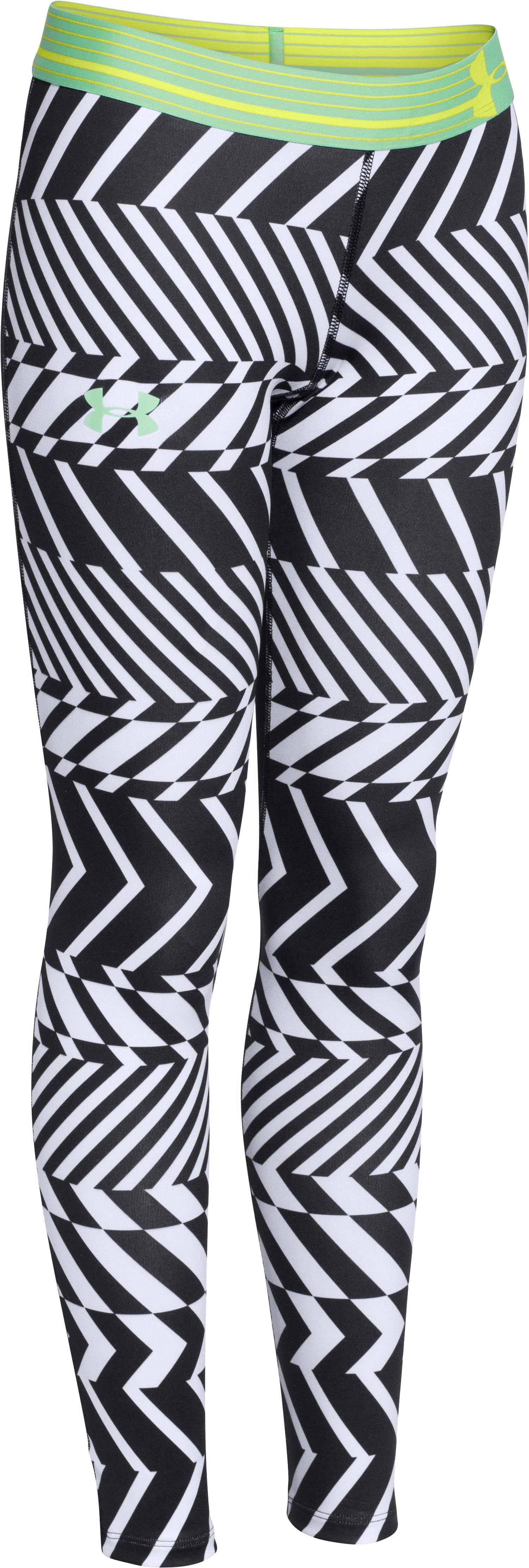 Girls' UA HeatGear® Armour Printed Legging, Black