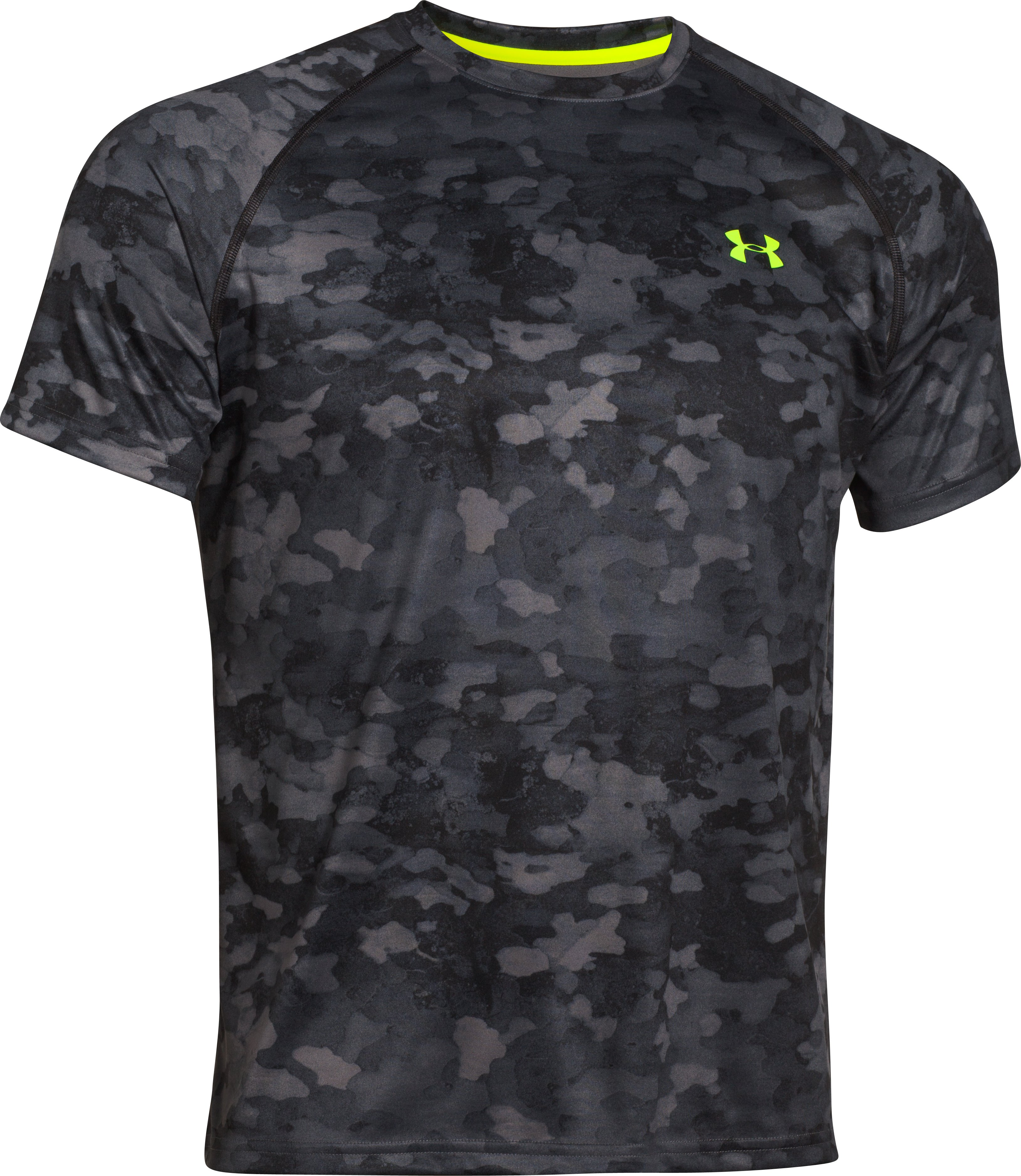 Men's UA Tech™ Printed Short Sleeve T-Shirt, Graphite, undefined