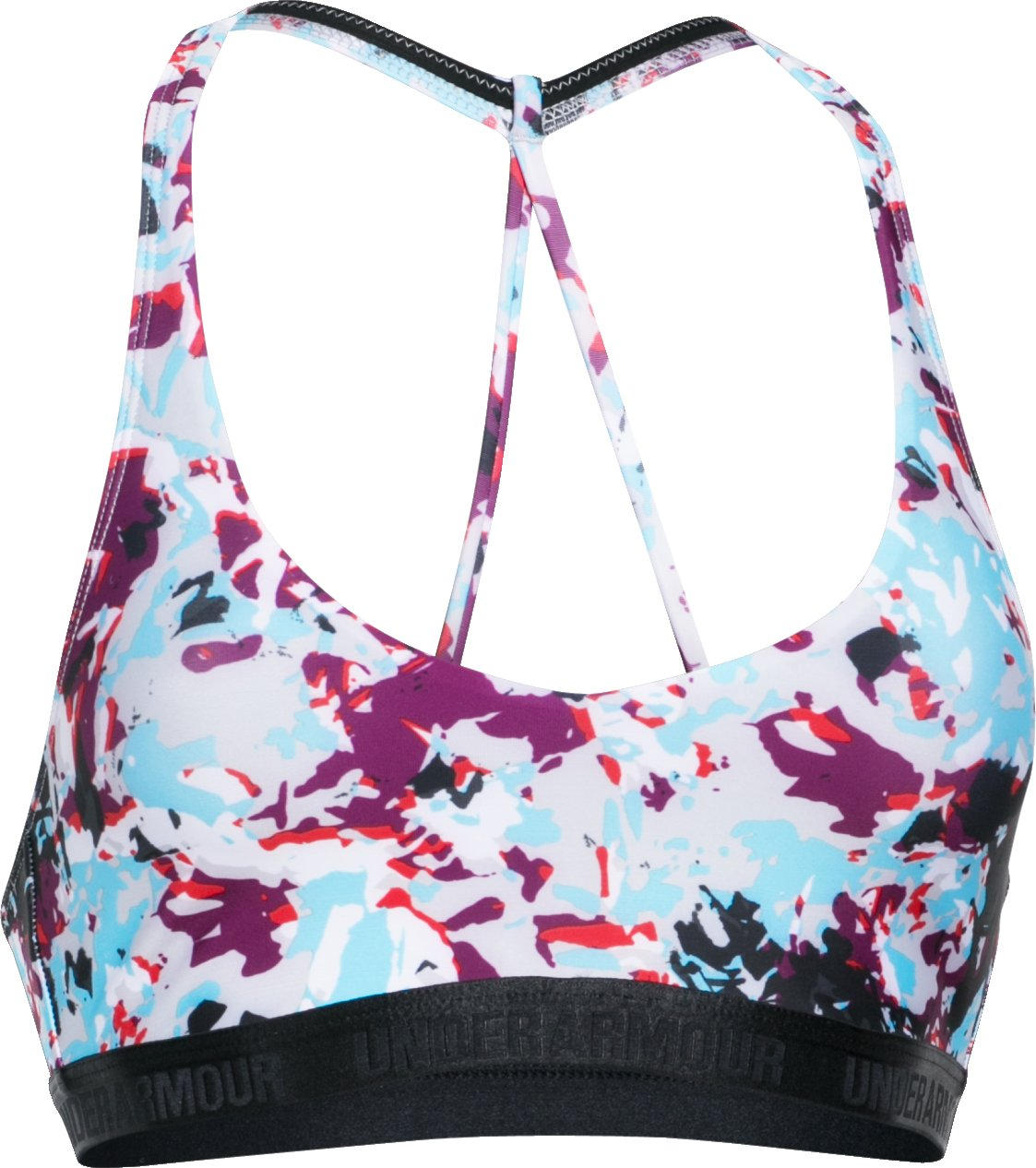Women's Armour® Low Printed Bra, Beet, undefined