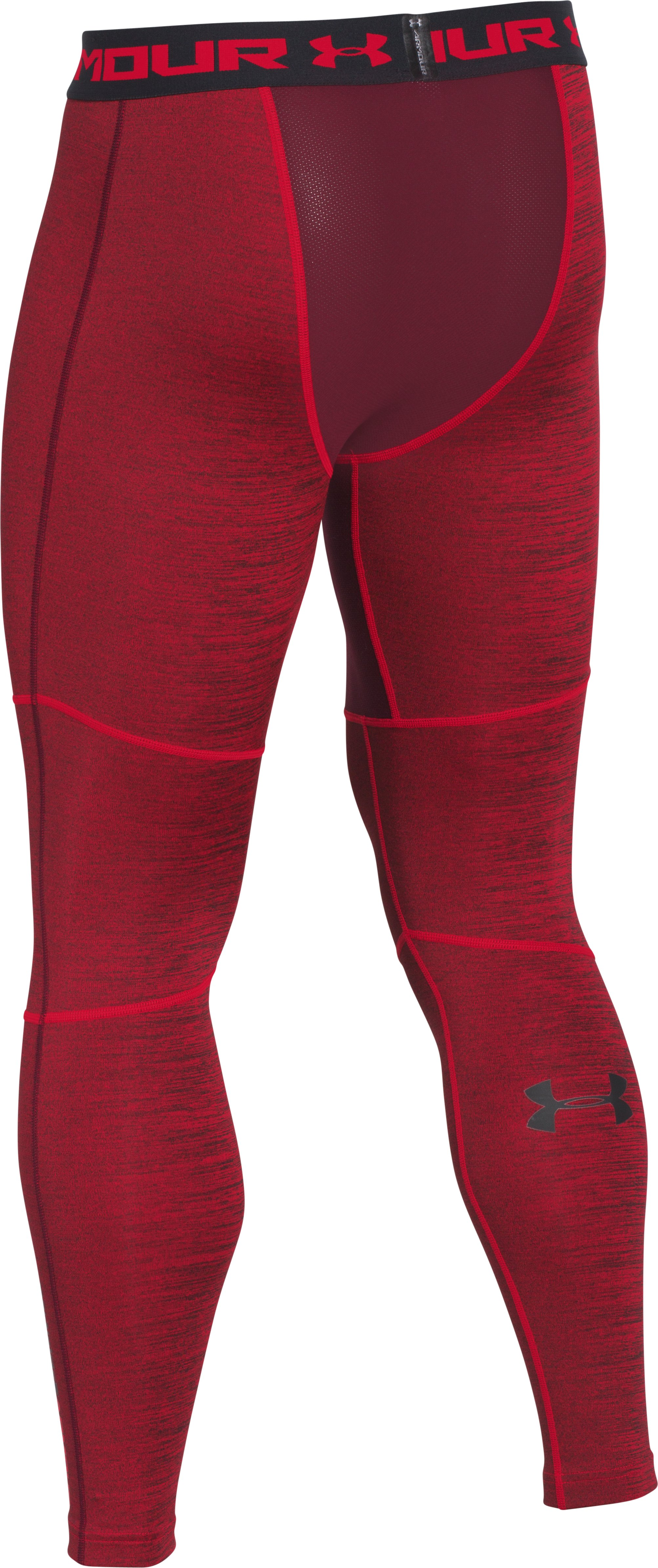 Men's UA ColdGear® Armour Twist Compression Leggings, Red, undefined