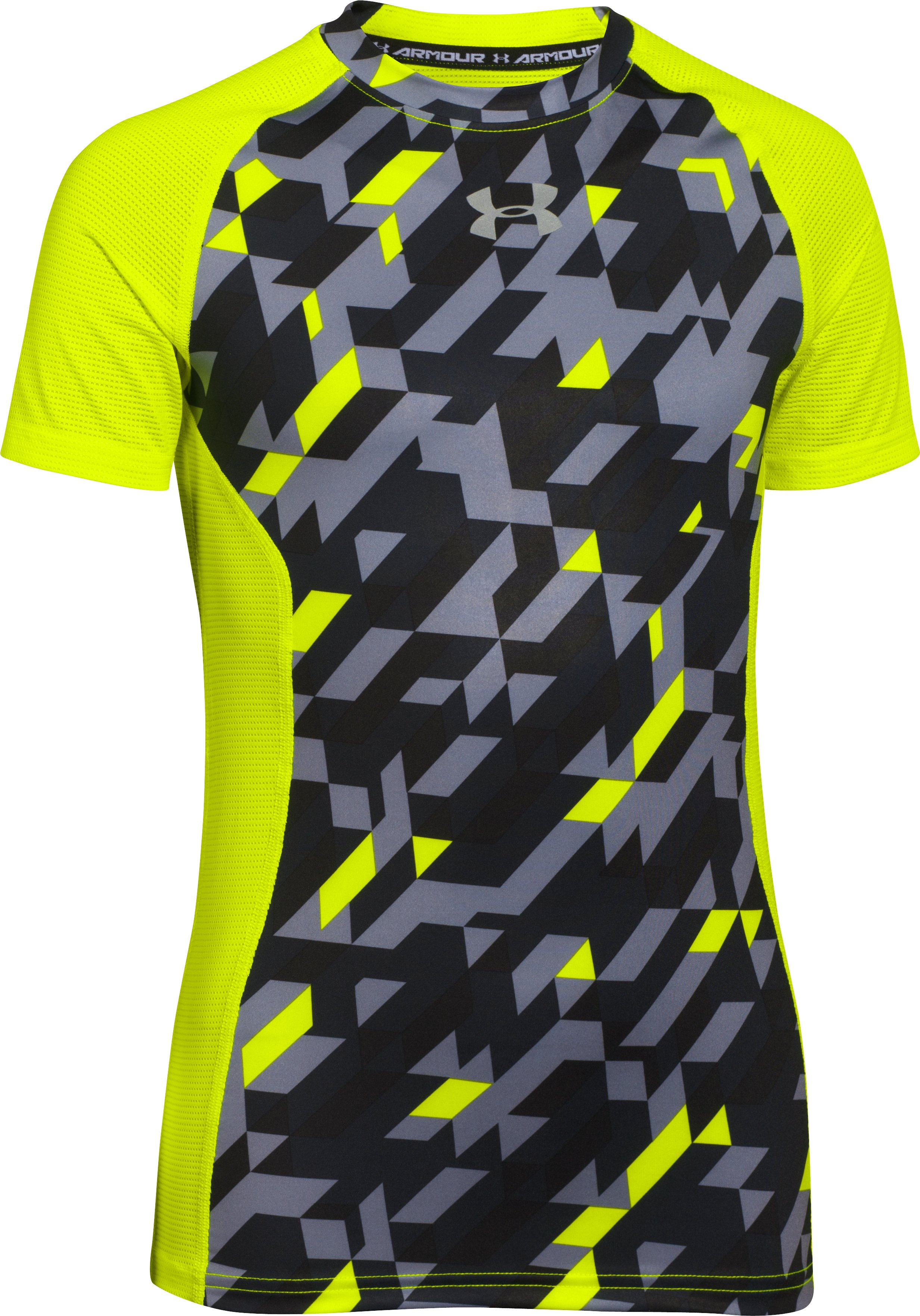 Boys' UA HeatGear® Armour Up Printed Short Sleeve Fitted Shirt, High-Vis Yellow