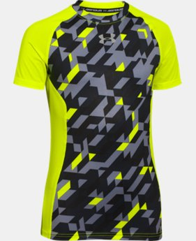 Boys' UA HeatGear® Armour Up Printed Short Sleeve Fitted Shirt  1 Color $14.99