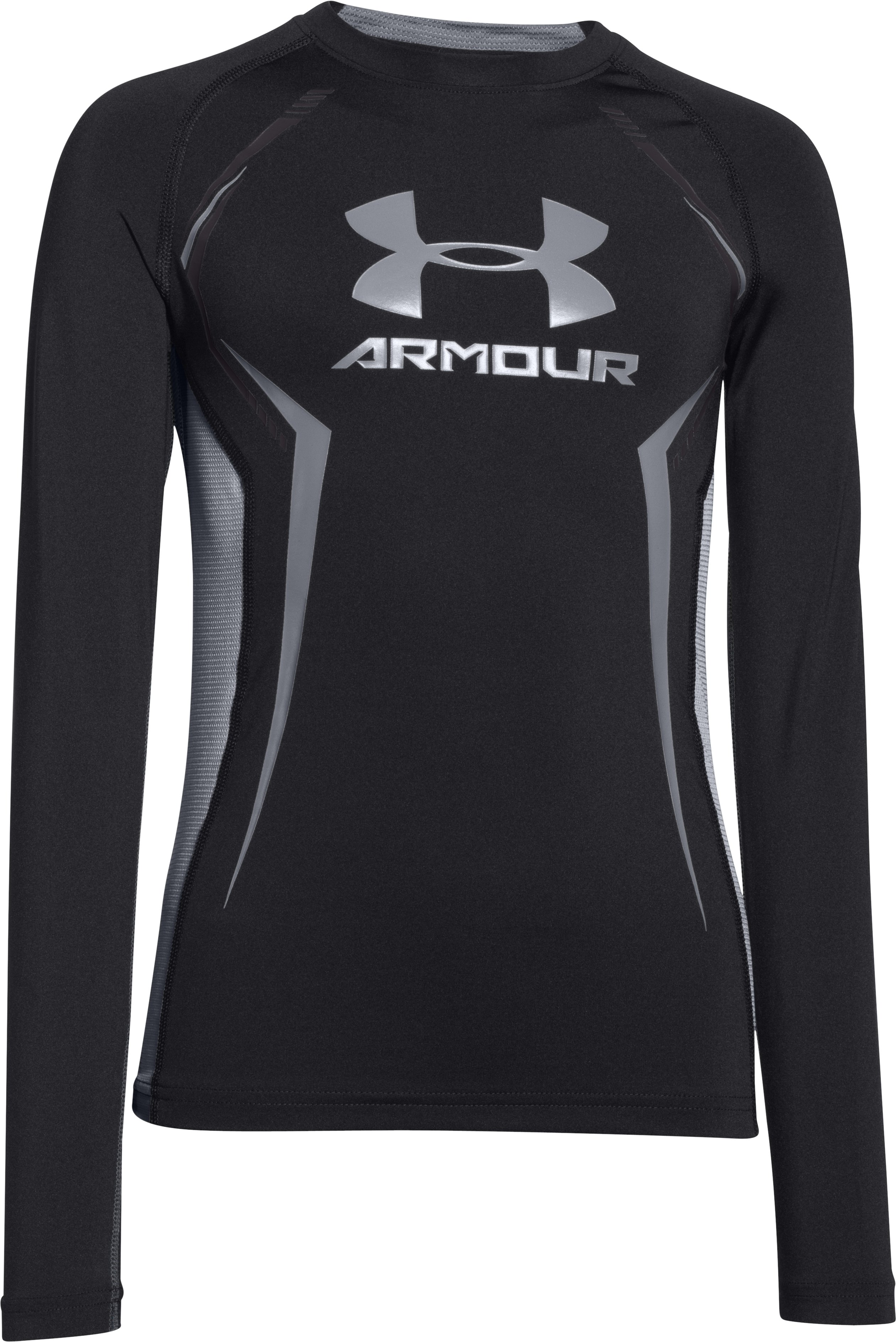 Boys' UA HeatGear® Armour Up Long Sleeve Fitted Shirt, Black , undefined