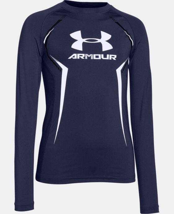 Boys' UA HeatGear® Armour Up Long Sleeve Fitted Shirt   $20.24