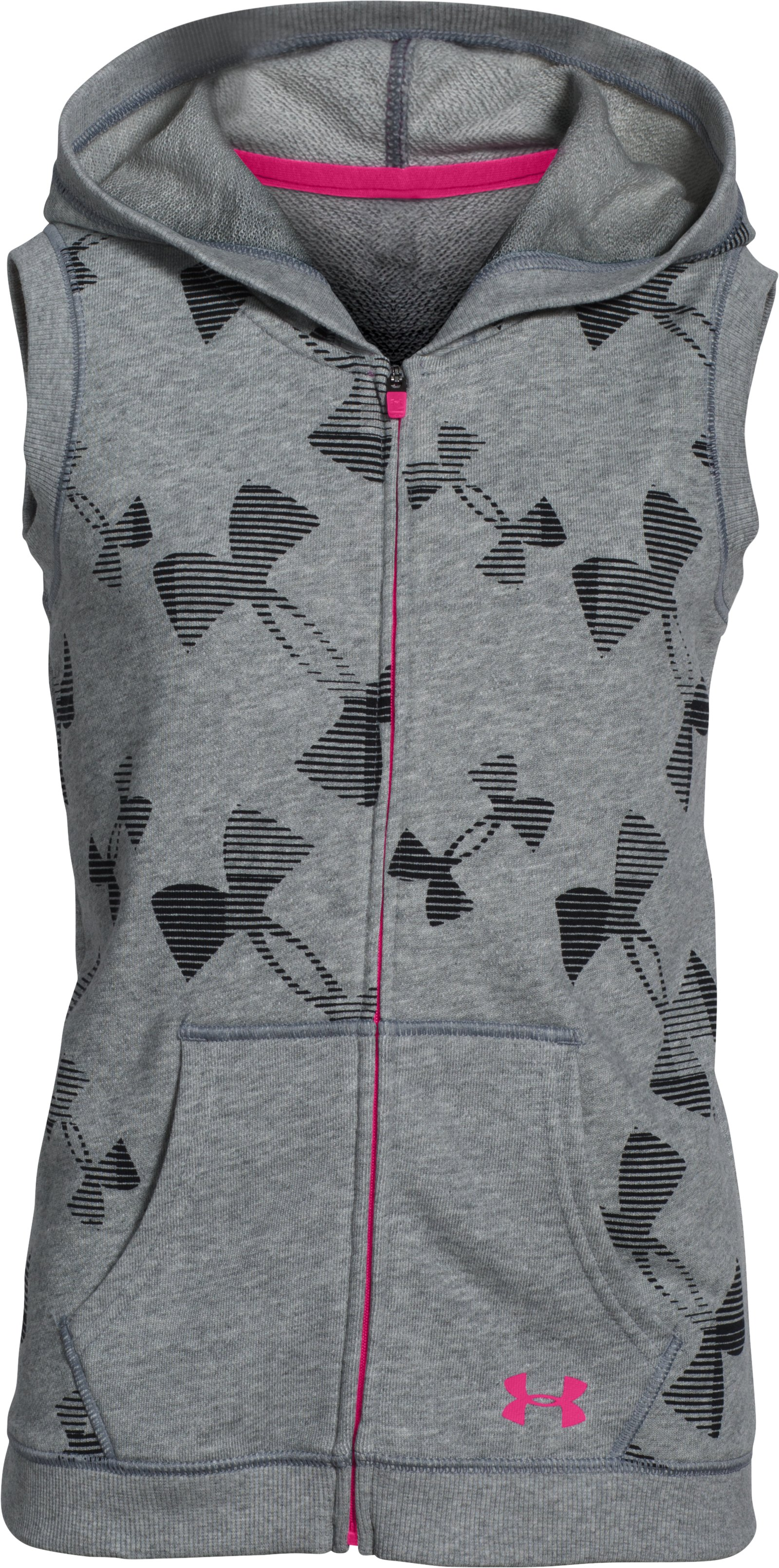 Girls' UA Kaleidalogo Full Zip Vest, True Gray Heather, undefined