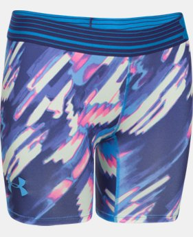 "Girls' UA HeatGear® Armour 5"" Printed Short LIMITED TIME: FREE U.S. SHIPPING 1 Color $14.24"