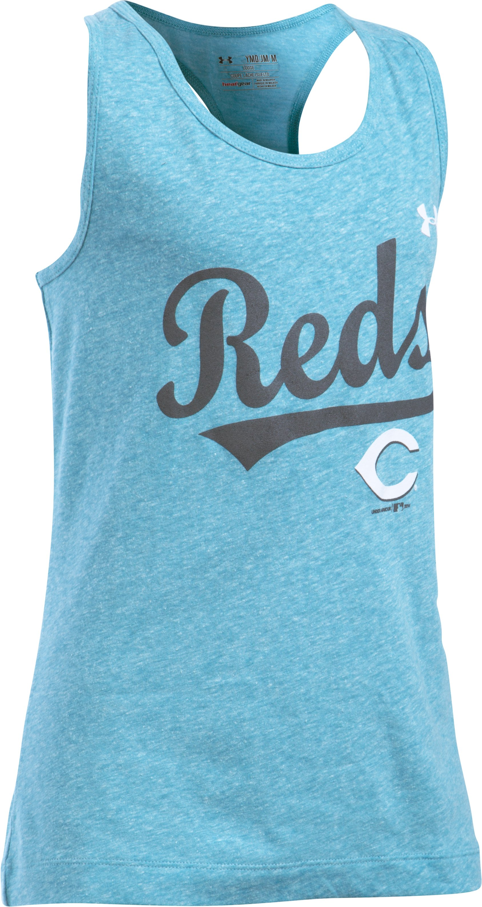 Girls' Cincinnati Reds UA Charged Cotton® Tri-Blend Tank, TEAL ICE