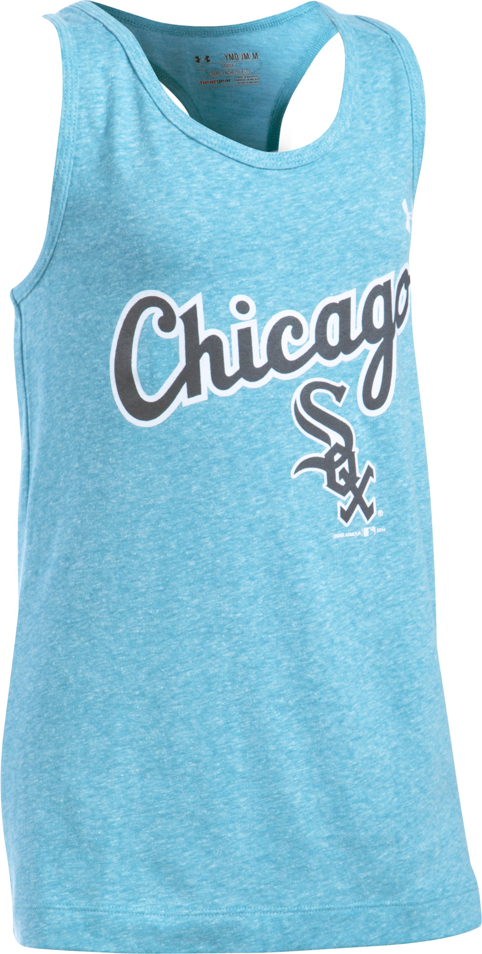 Girls' Chicago White Sox UA Charged Cotton® Tri-Blend Tank, TEAL ICE