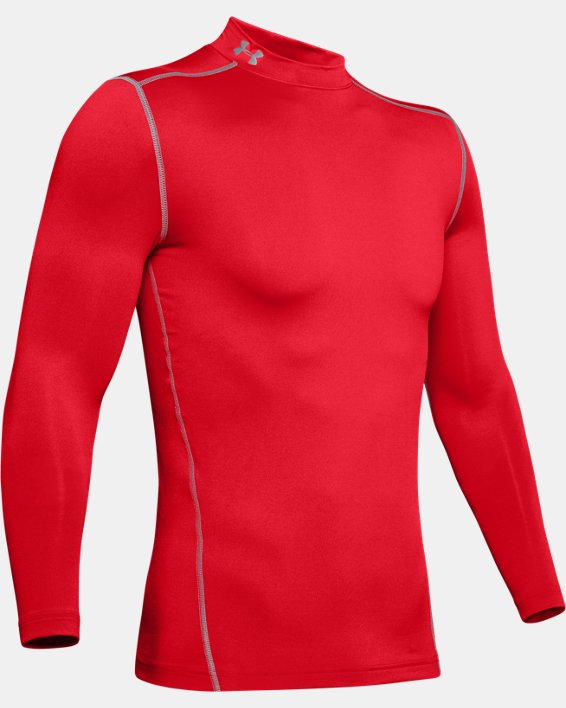 Men's UA ColdGear® Armour Compression Mock, Red, pdpMainDesktop image number 4