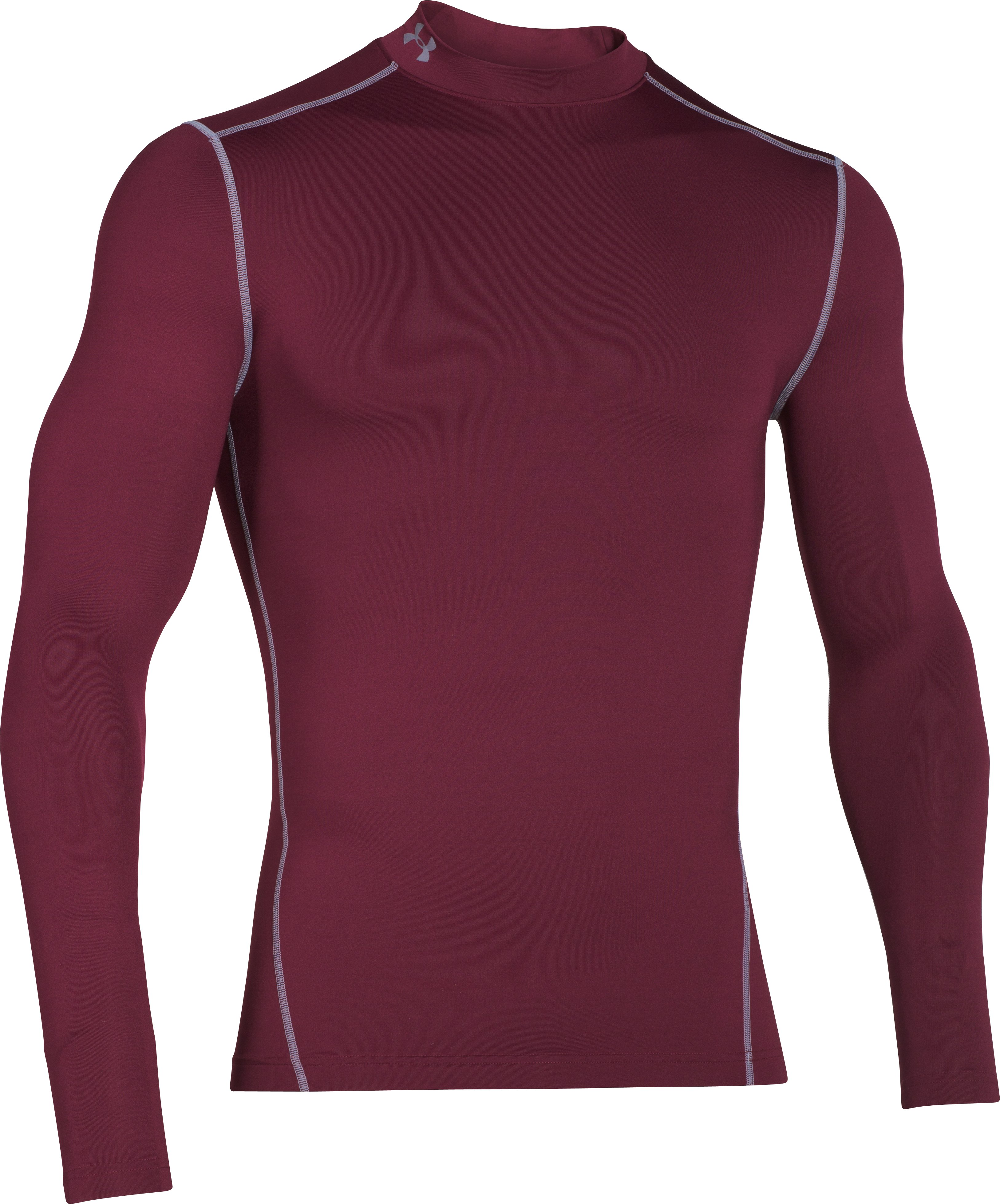 Men's UA ColdGear® Armour Compression Mock, Maroon, undefined