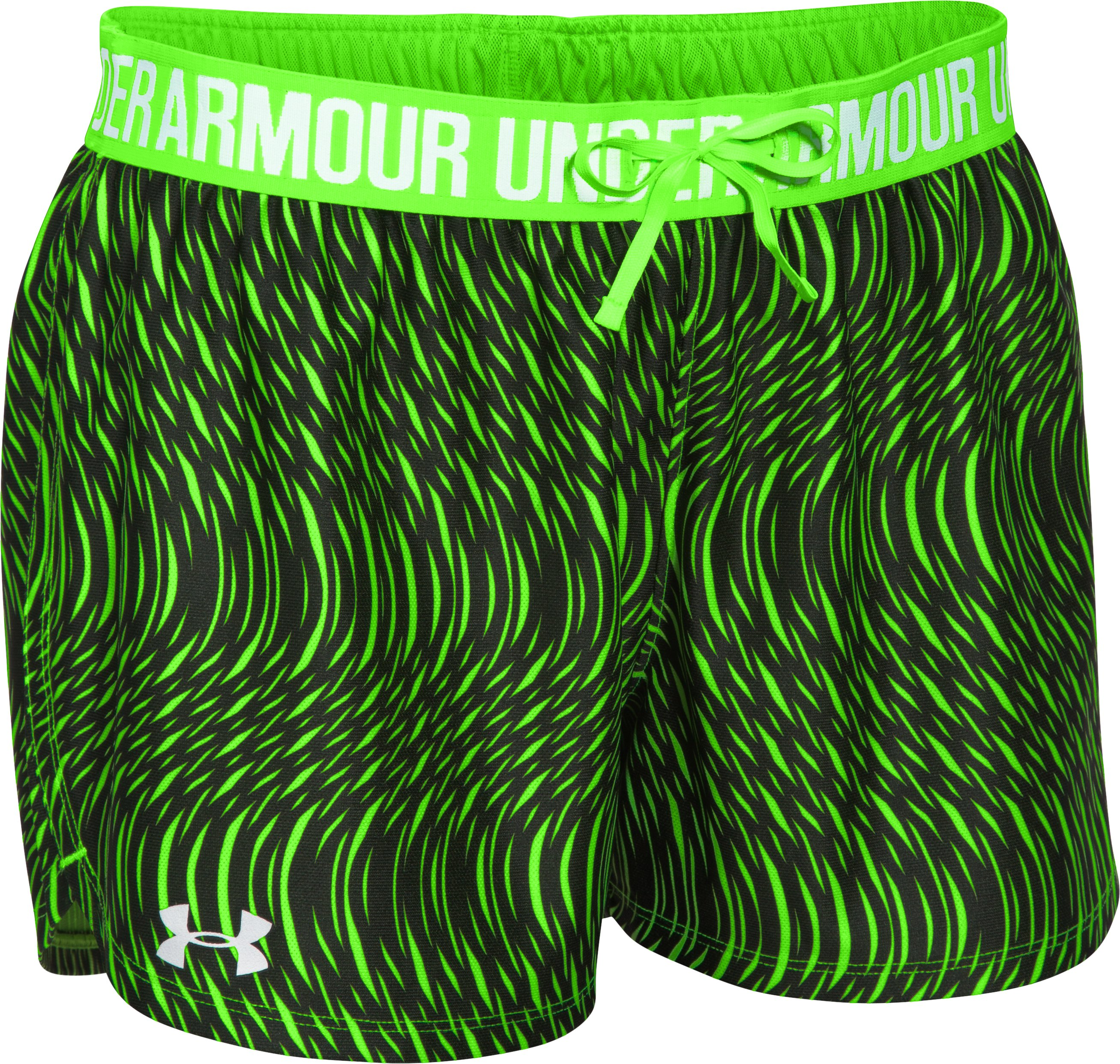 Women's UA Play Up Printed Shorts, HYPER GREEN,