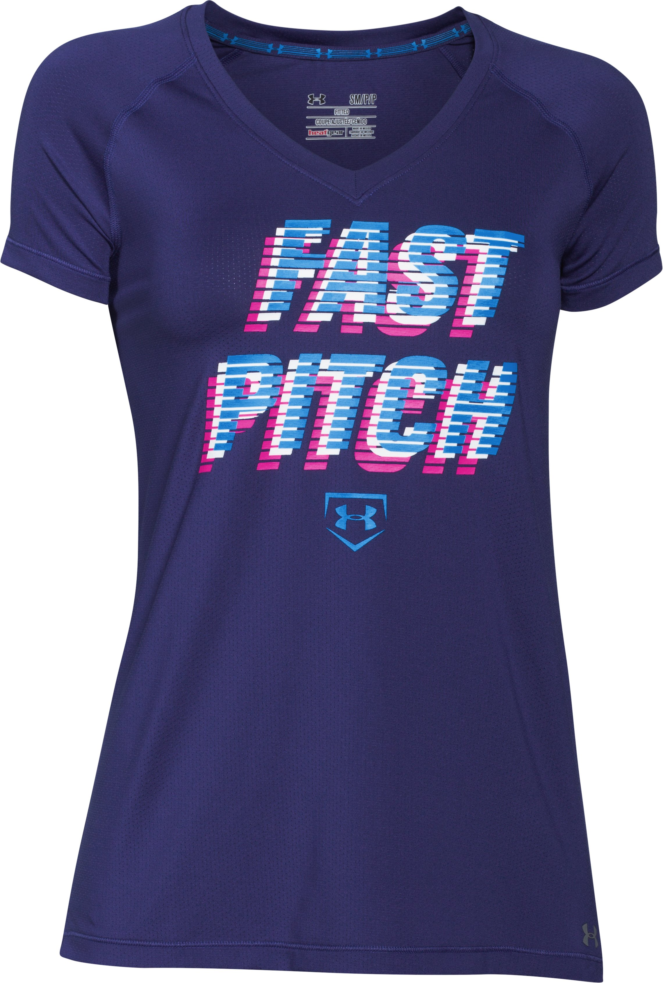 Women's UA Softball Graphic Short Sleeve, EUROPA PURPLE,