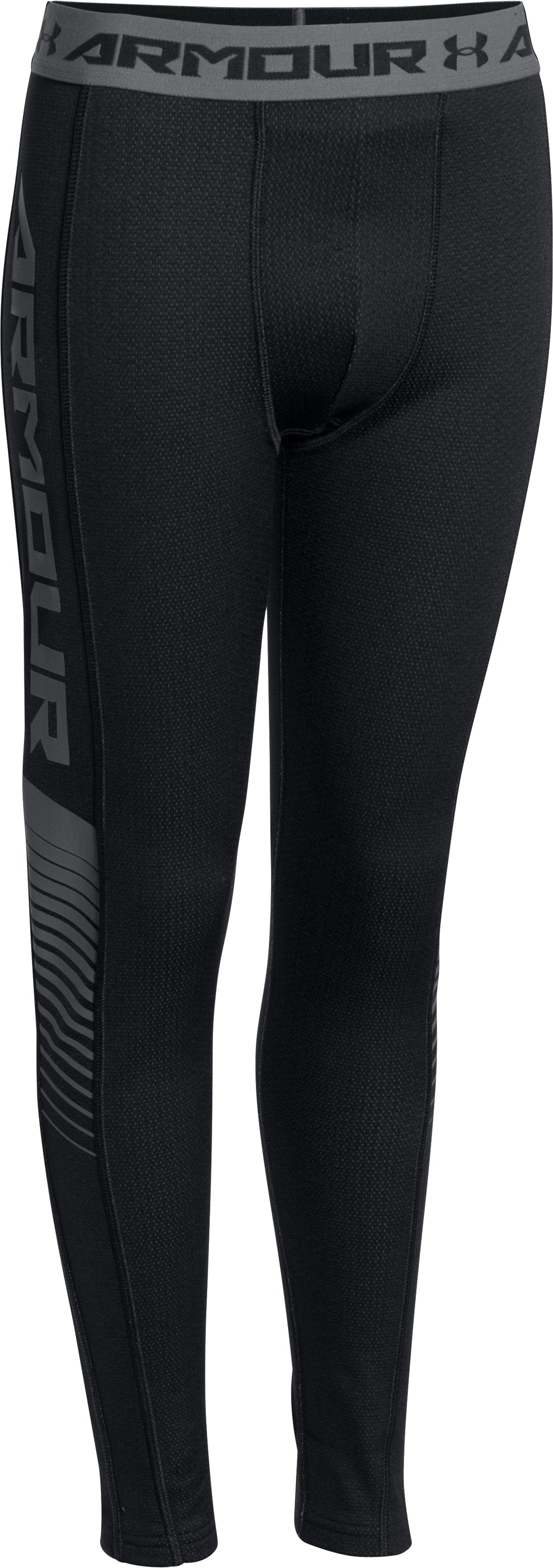 Boys' UA Lightweight ColdGear® Armour Up Fitted Leggings, Black , zoomed image