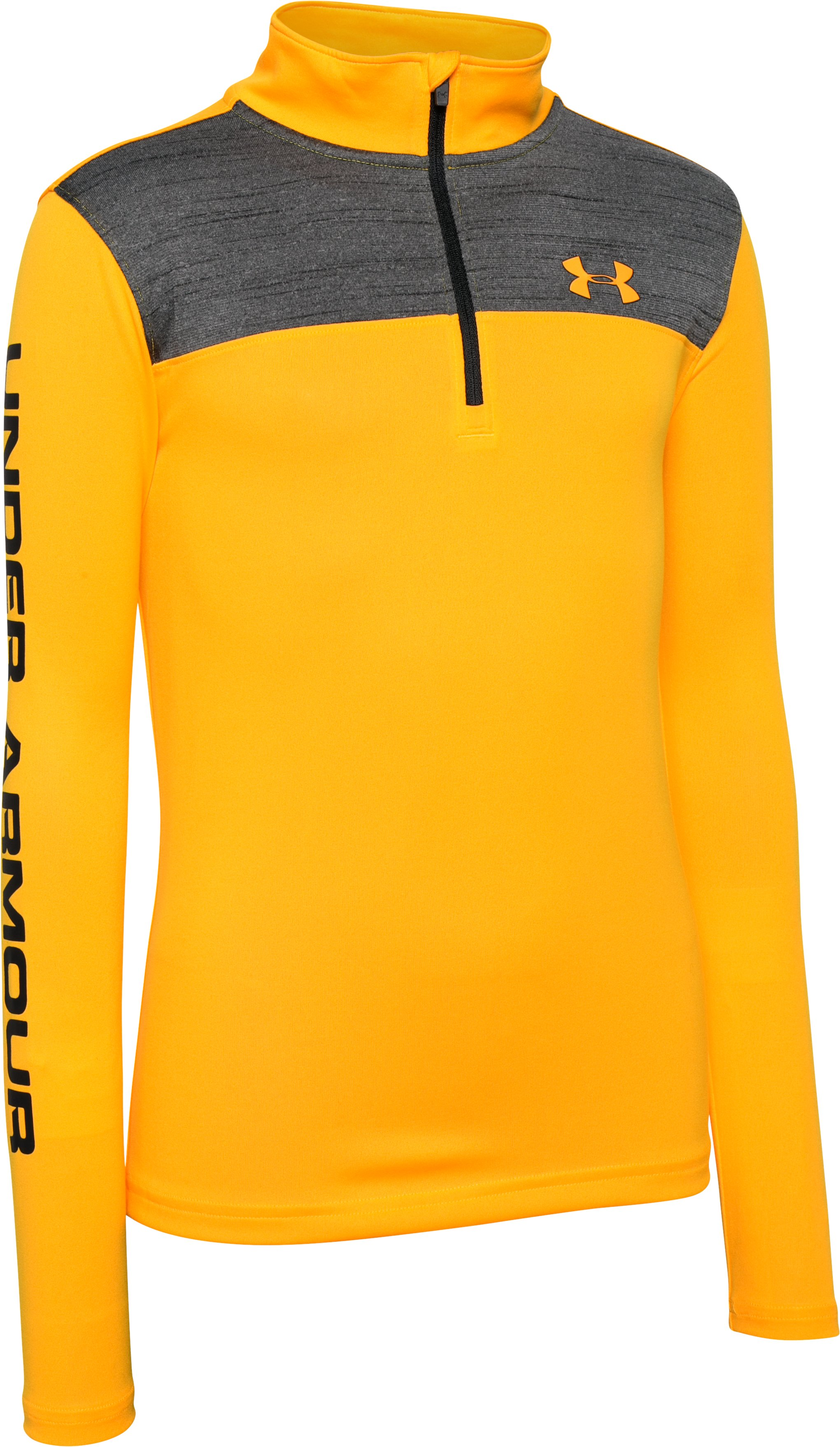Boys' UA Tech™ ¼ Zip, YUZU ORANGE, zoomed image
