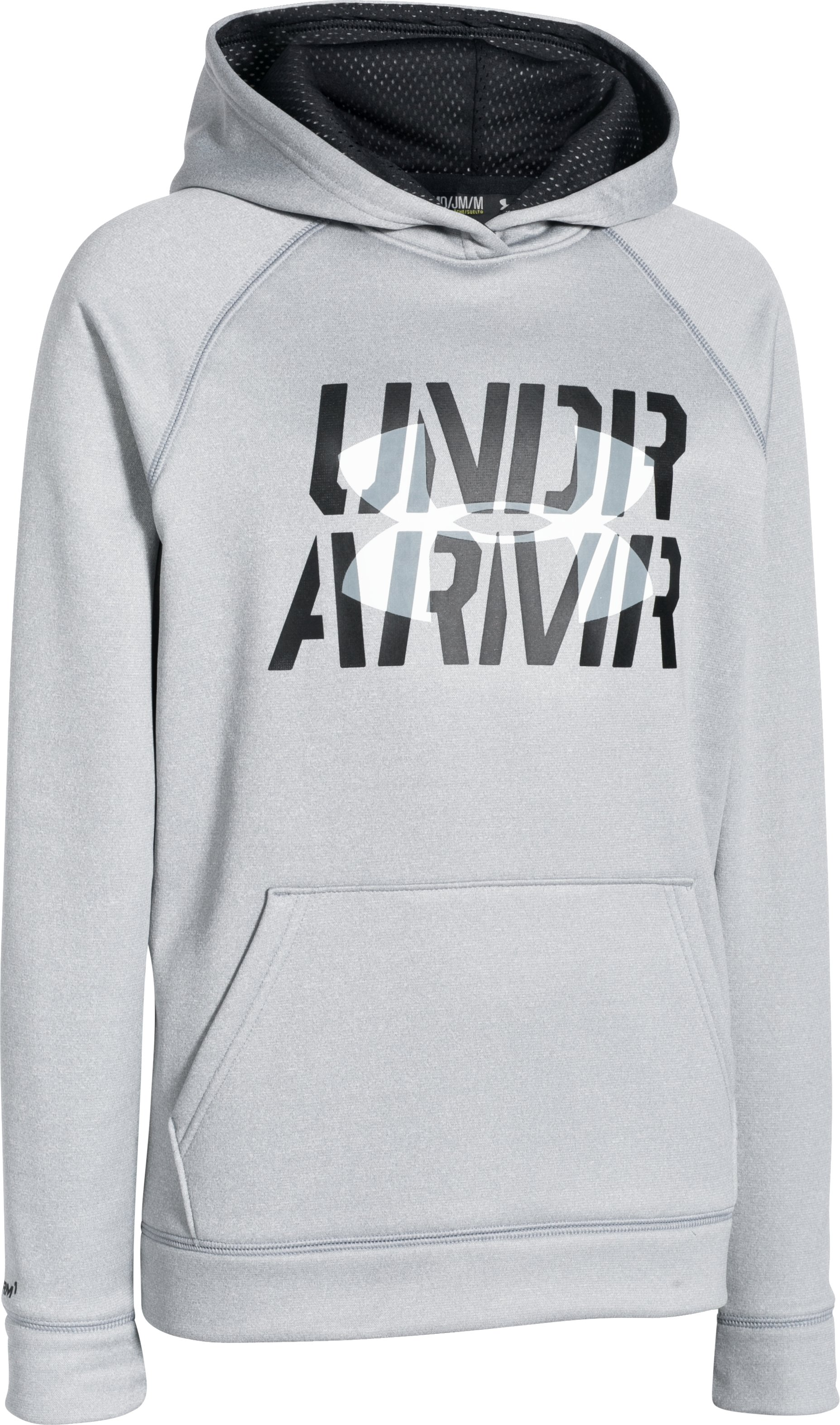 Boys' UA Storm Armour Fleece® Script Hoodie, True Gray Heather