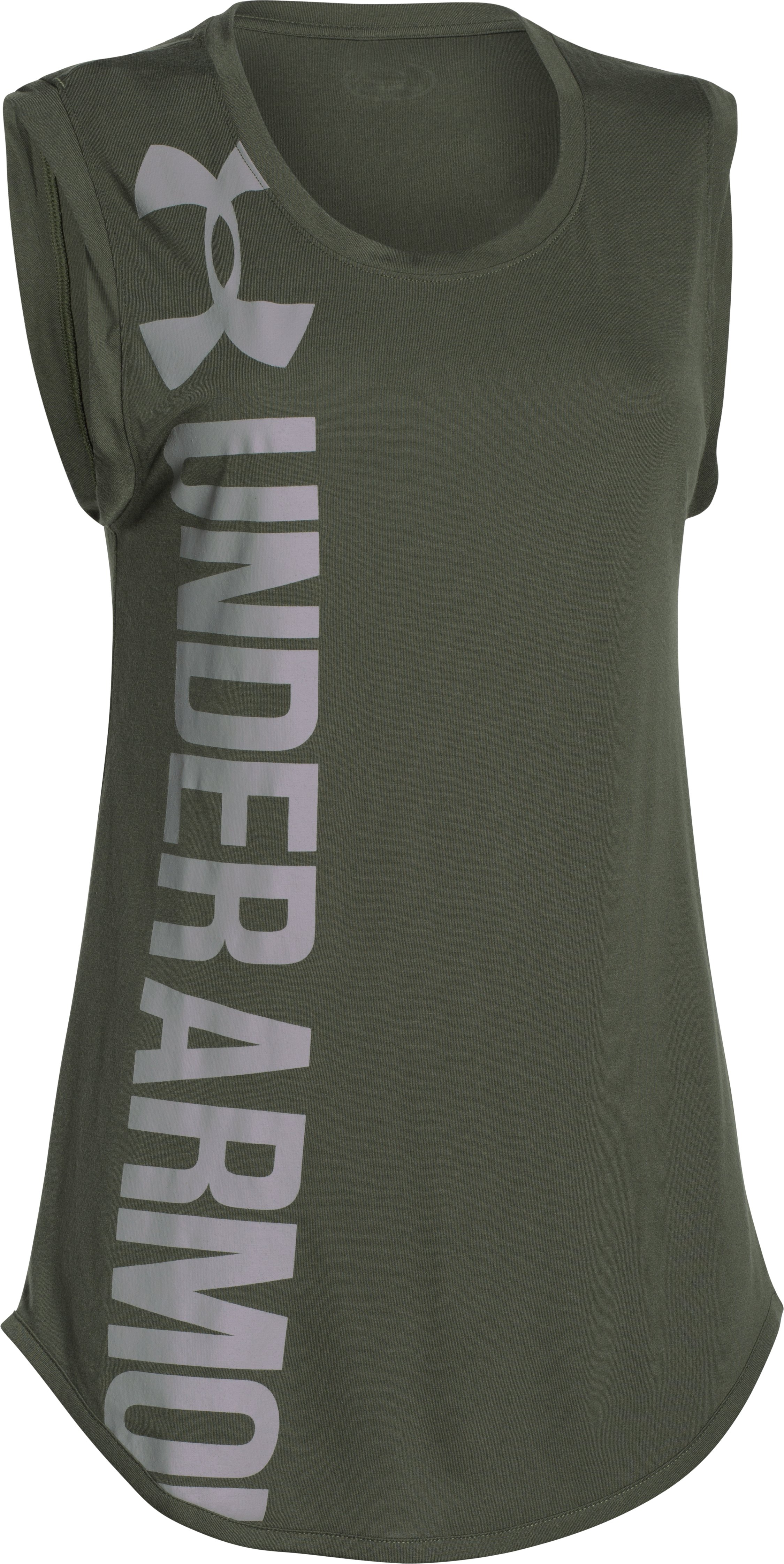 Women's UA Word Mark Back Graphic T-Shirt, DOWNTOWN GREEN, undefined
