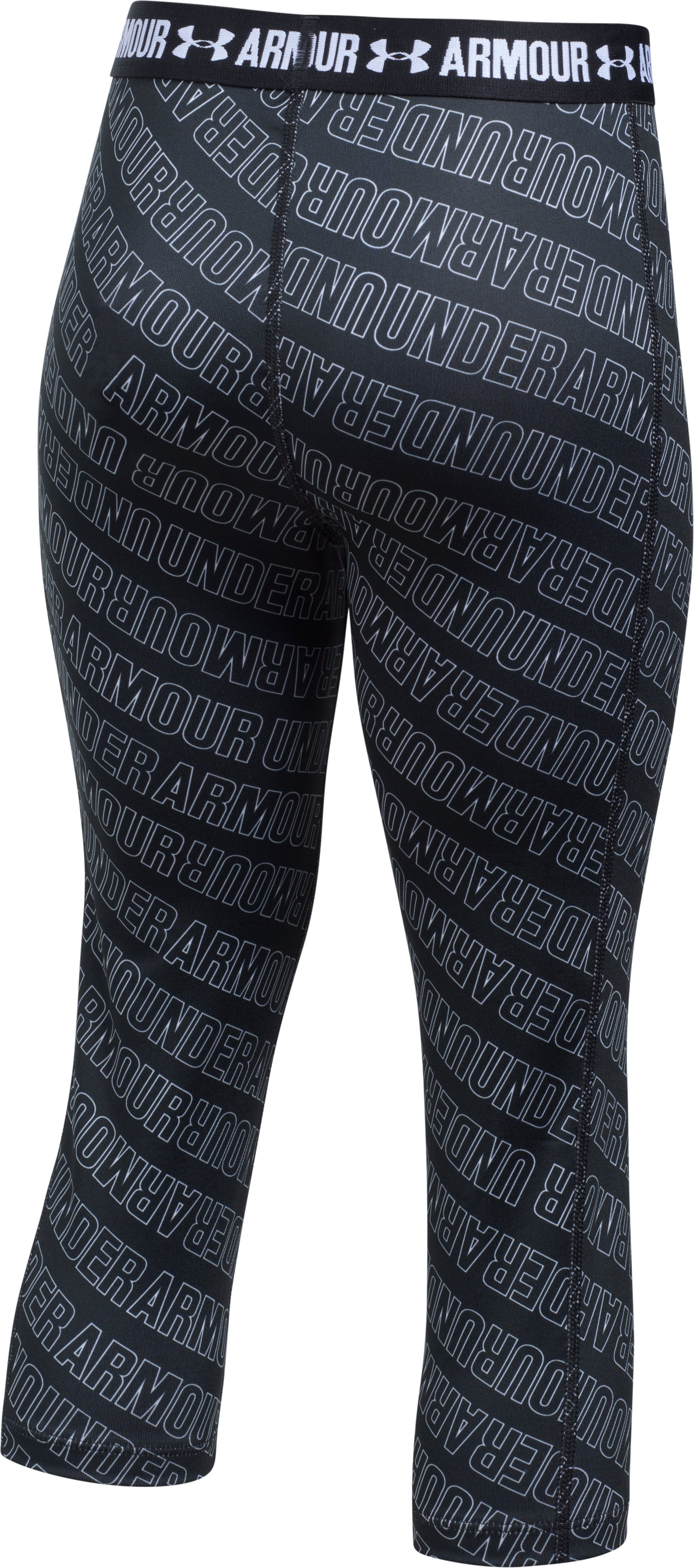 Girls' UA HeatGear® Armour Printed Capris, Black , undefined