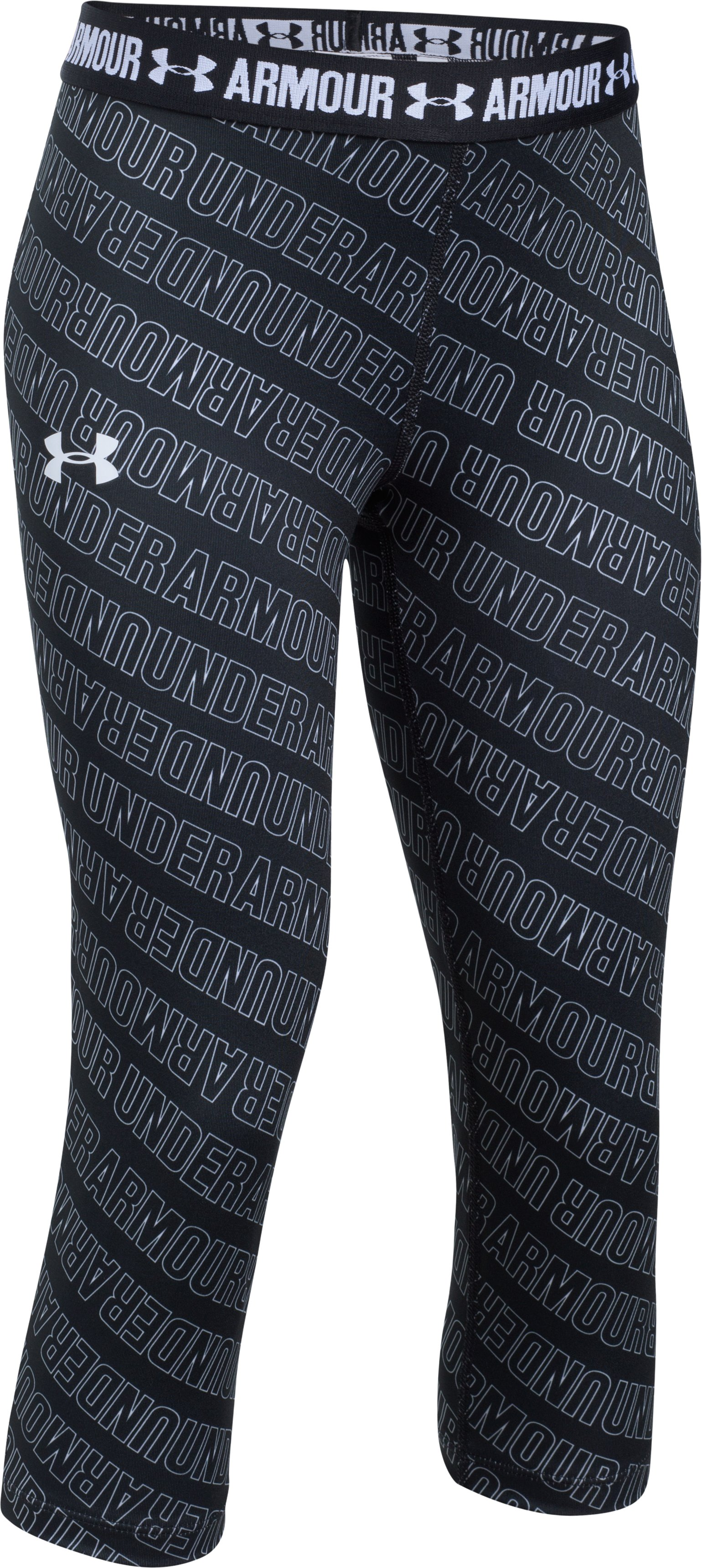 Girls' UA HeatGear® Armour Printed Capris, Black