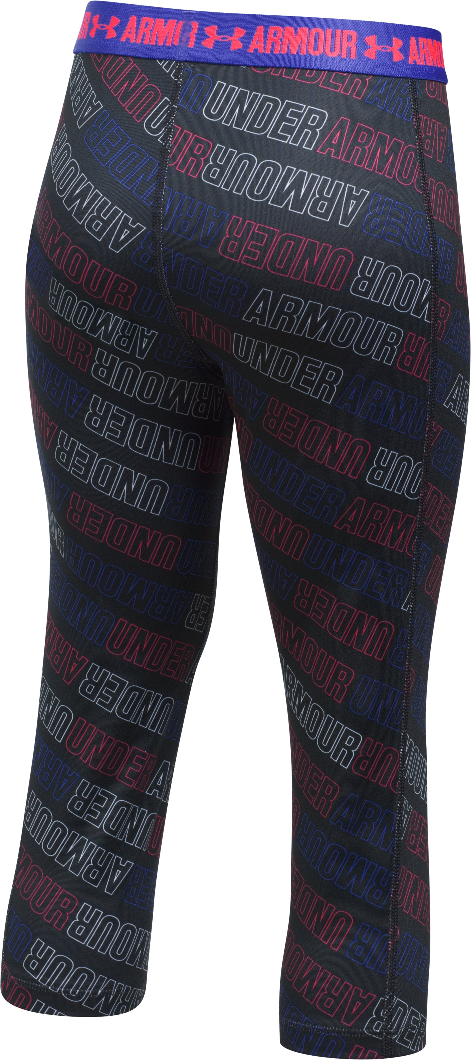 Girls' UA HeatGear® Armour Printed Capris, Black ,